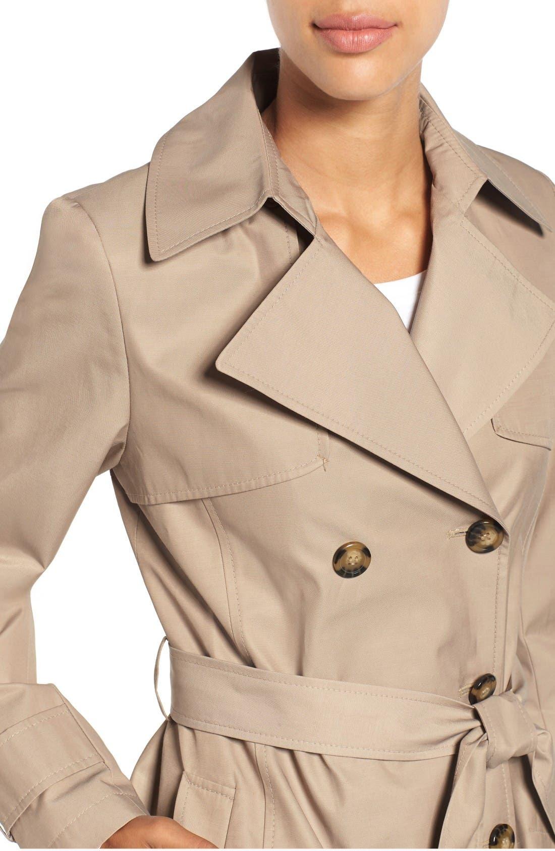 Alternate Image 4  - Halogen® Detachable Hood Trench Coat (Regular & Petite)