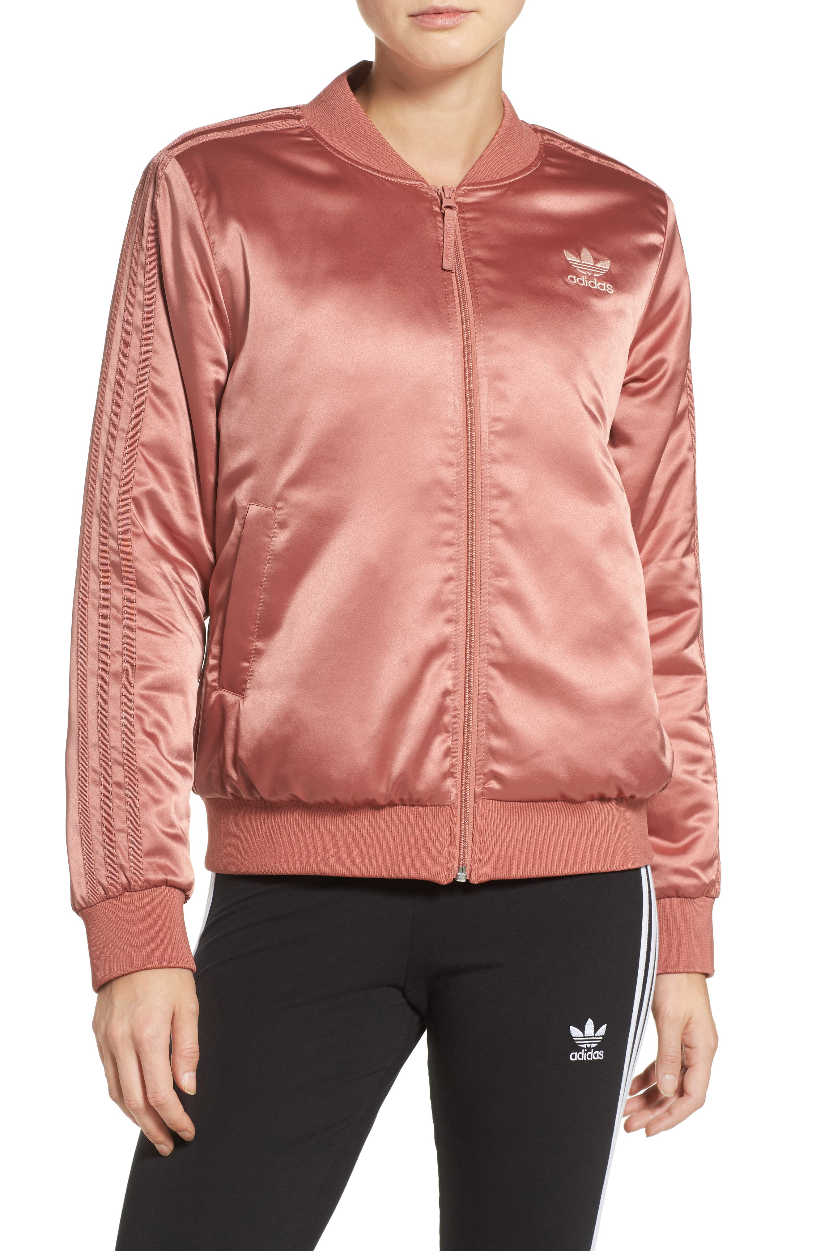 Main Image - adidas Originals Trefoil Satin Jacket