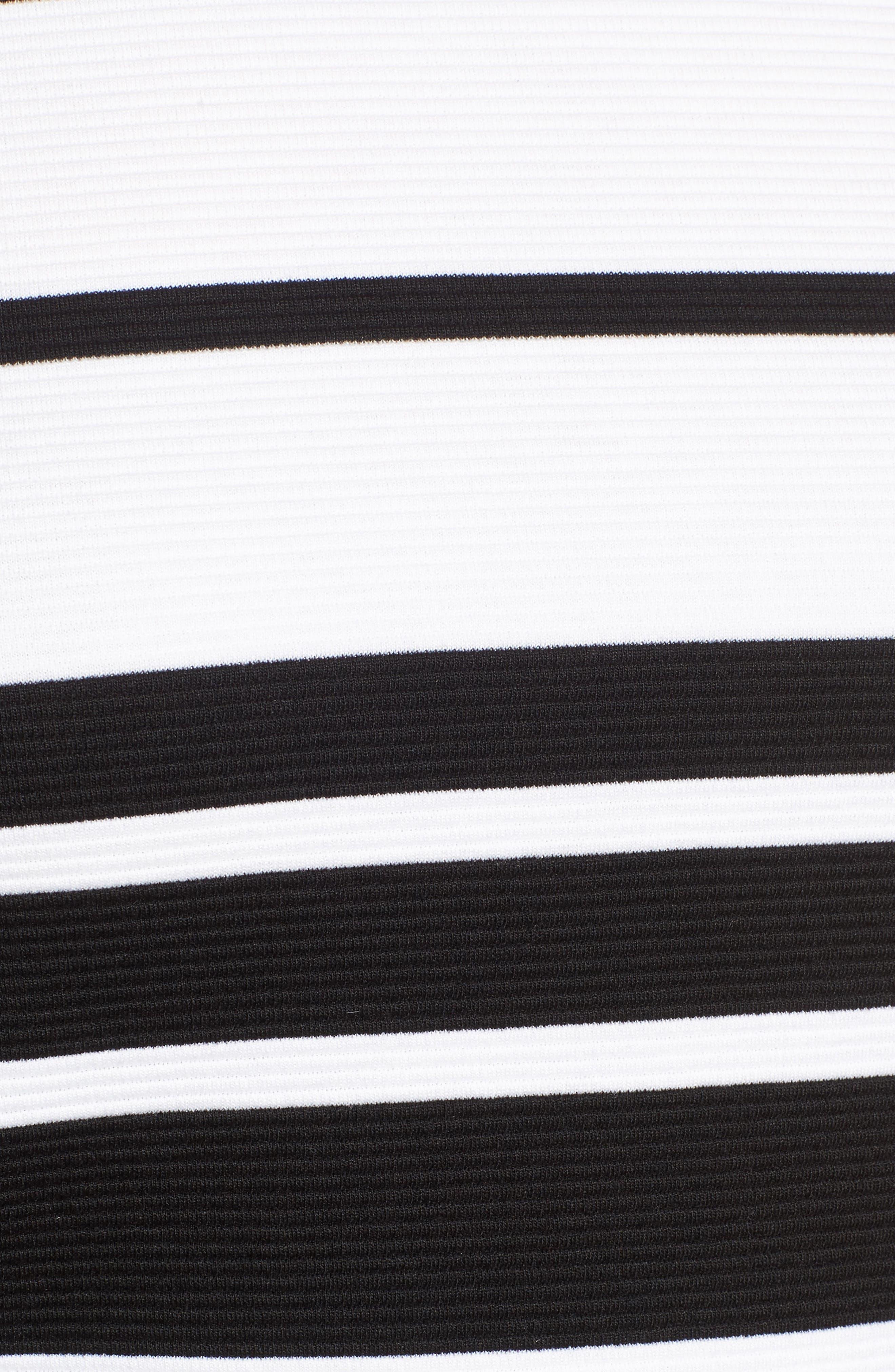 Stripe Ottoman Knit Peplum Top,                             Alternate thumbnail 5, color,                             Dark Peacock