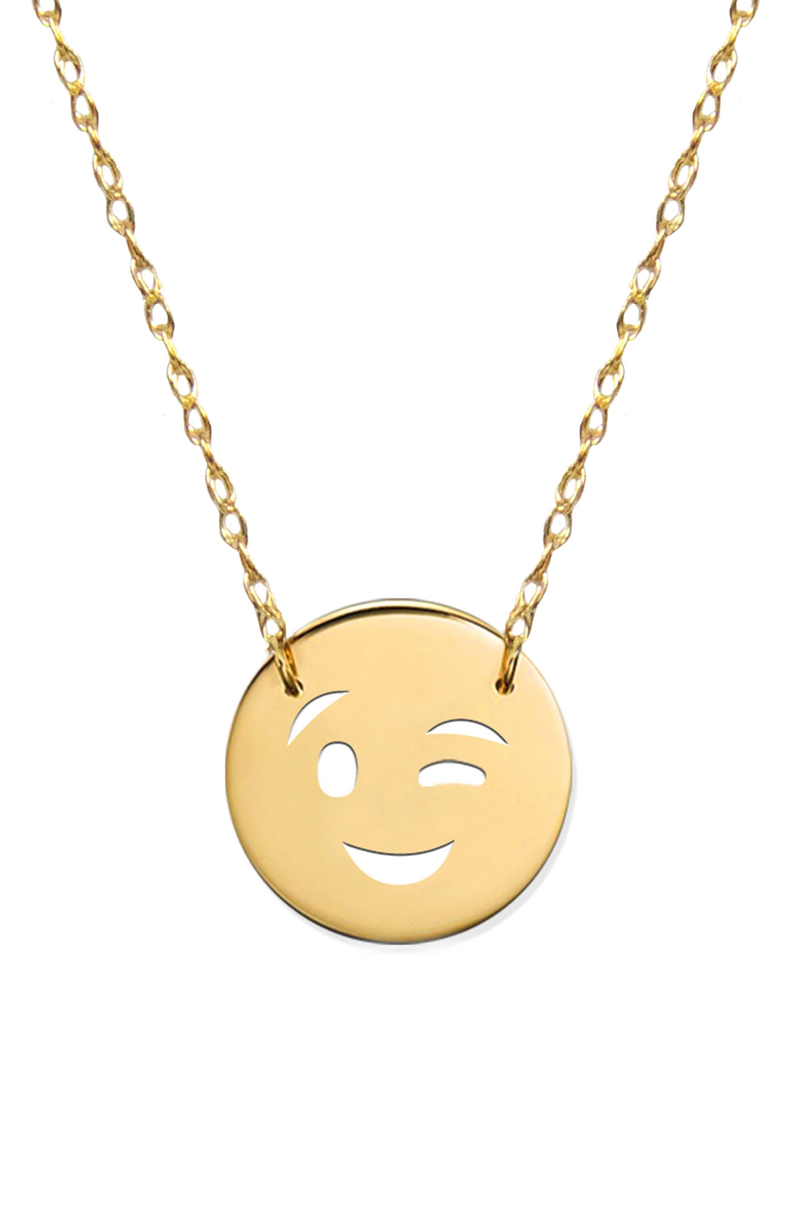 Wink Emoji Pendant Necklace,                             Main thumbnail 1, color,                             Yellow Gold