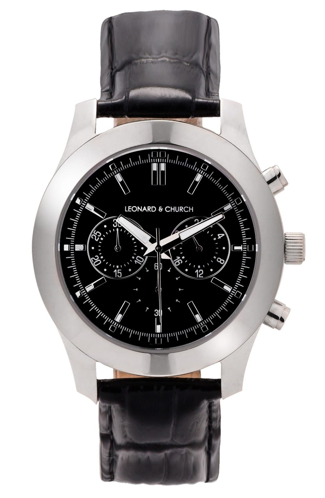 LEONARD AND CHURCH Leonard & Church Astor Chronograph Leather Strap Watch, 45mm