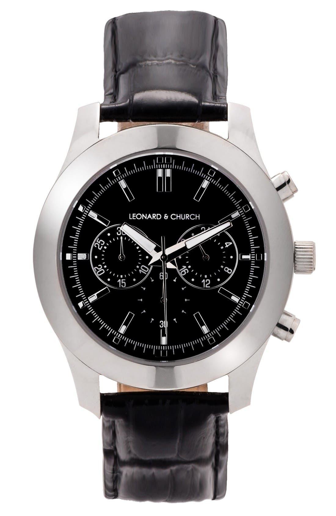 Leonard & Church Astor Chronograph Leather Strap Watch, 45mm,                         Main,                         color, Black/ Silver