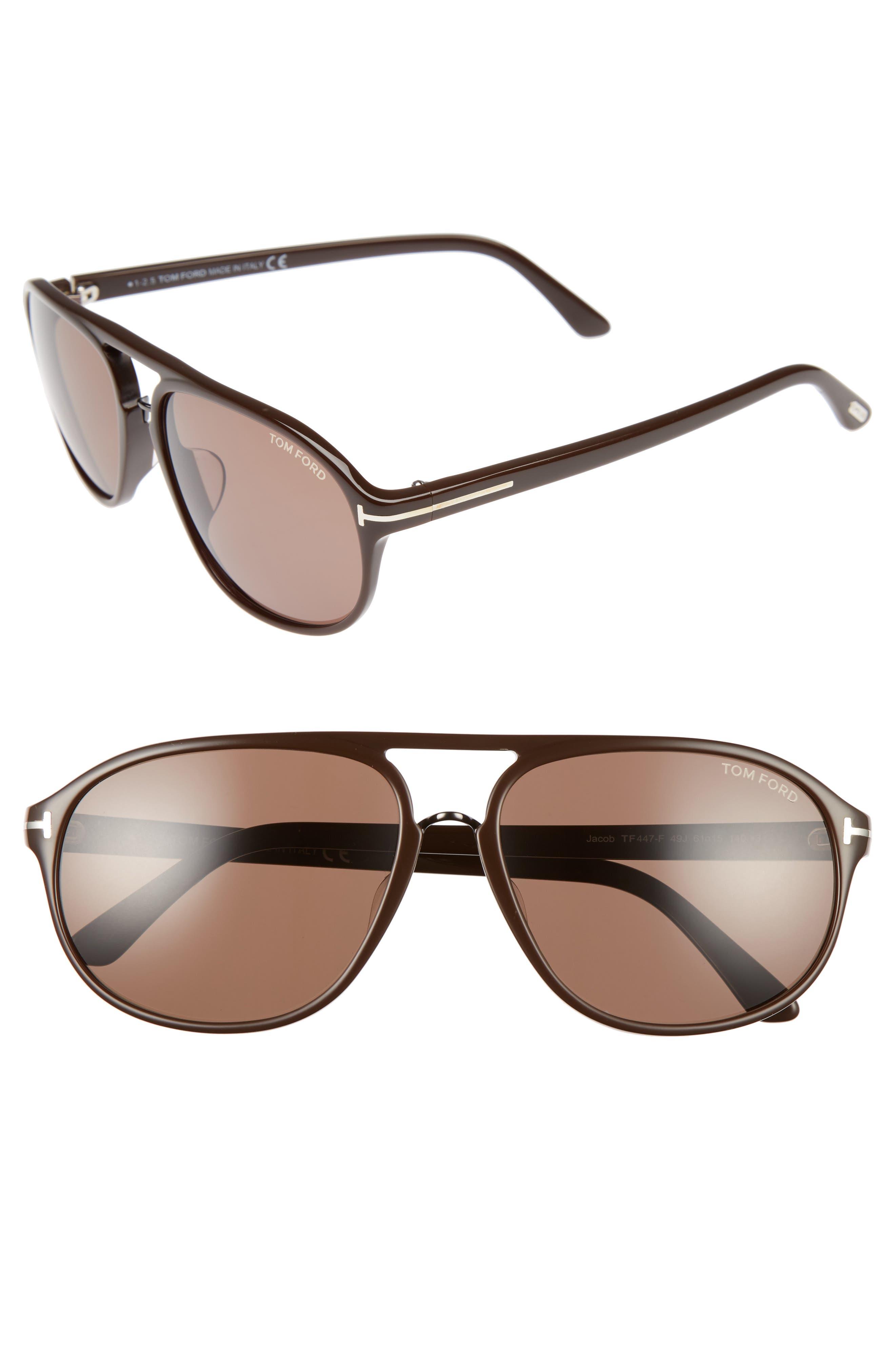 Jacob 61mm Special Fit Aviator Sunglasses,                         Main,                         color, Matte Dark Brown/ Roviex