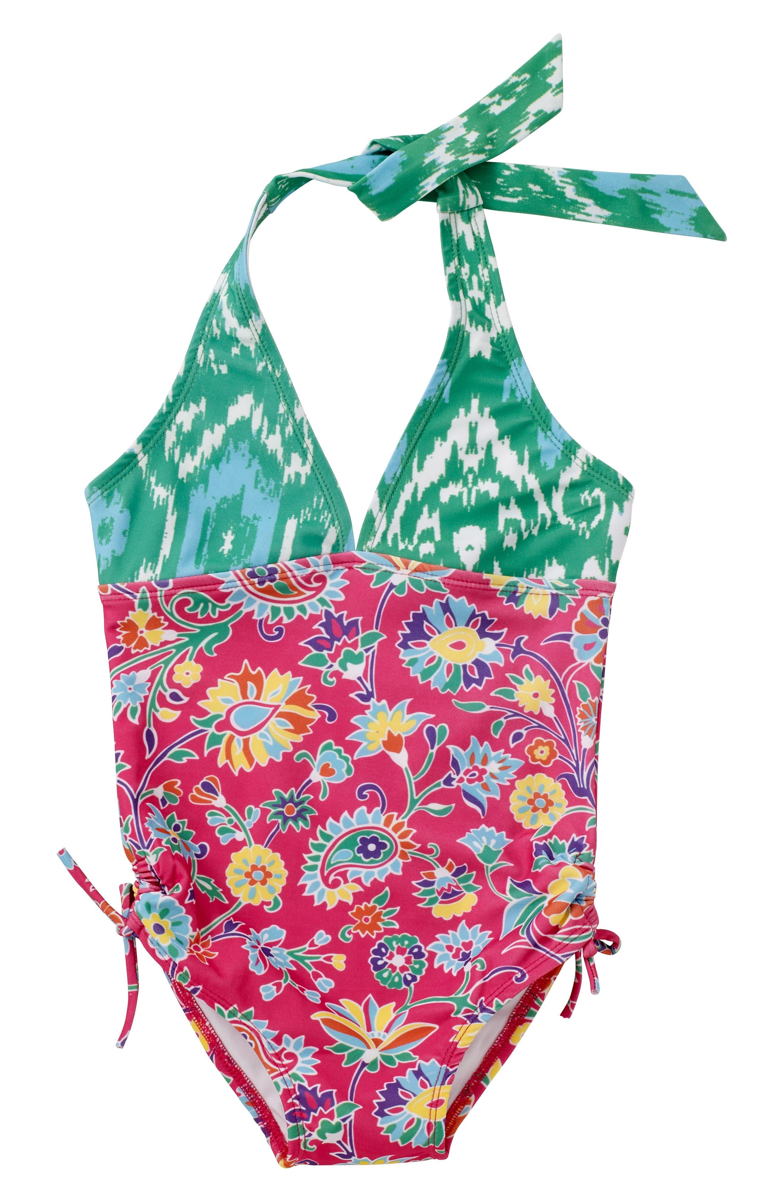 Alternate Image 1 Selected - Masalababy One-Piece Halter Swimsuit (Toddler Girls, Little Girls & Big Girls)