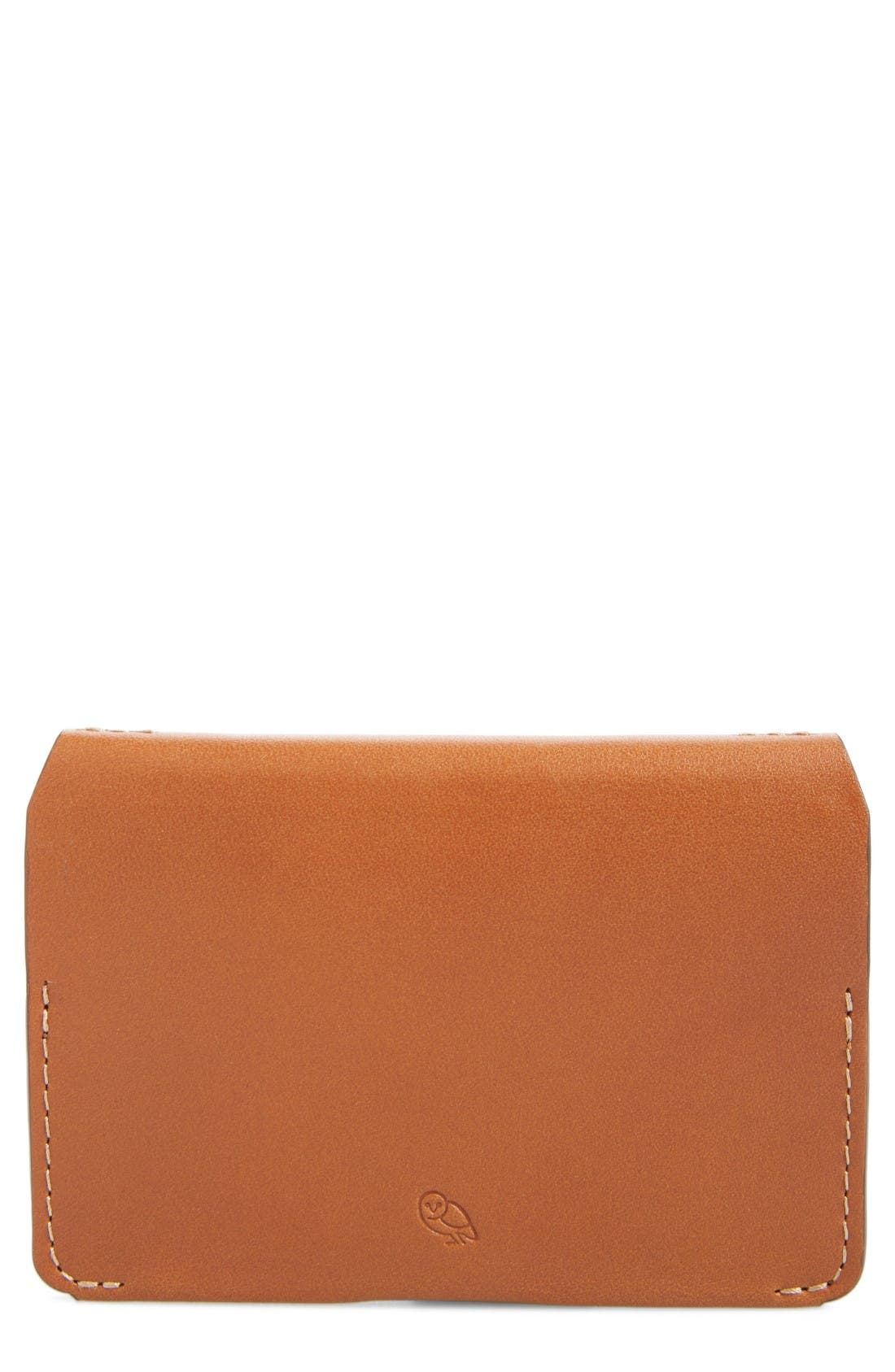Leather Card Case,                             Main thumbnail 1, color,                             Caramel