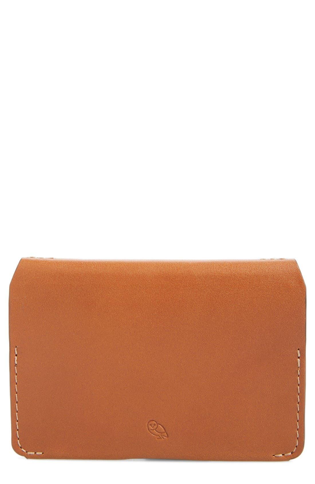 Leather Card Case,                         Main,                         color, Caramel
