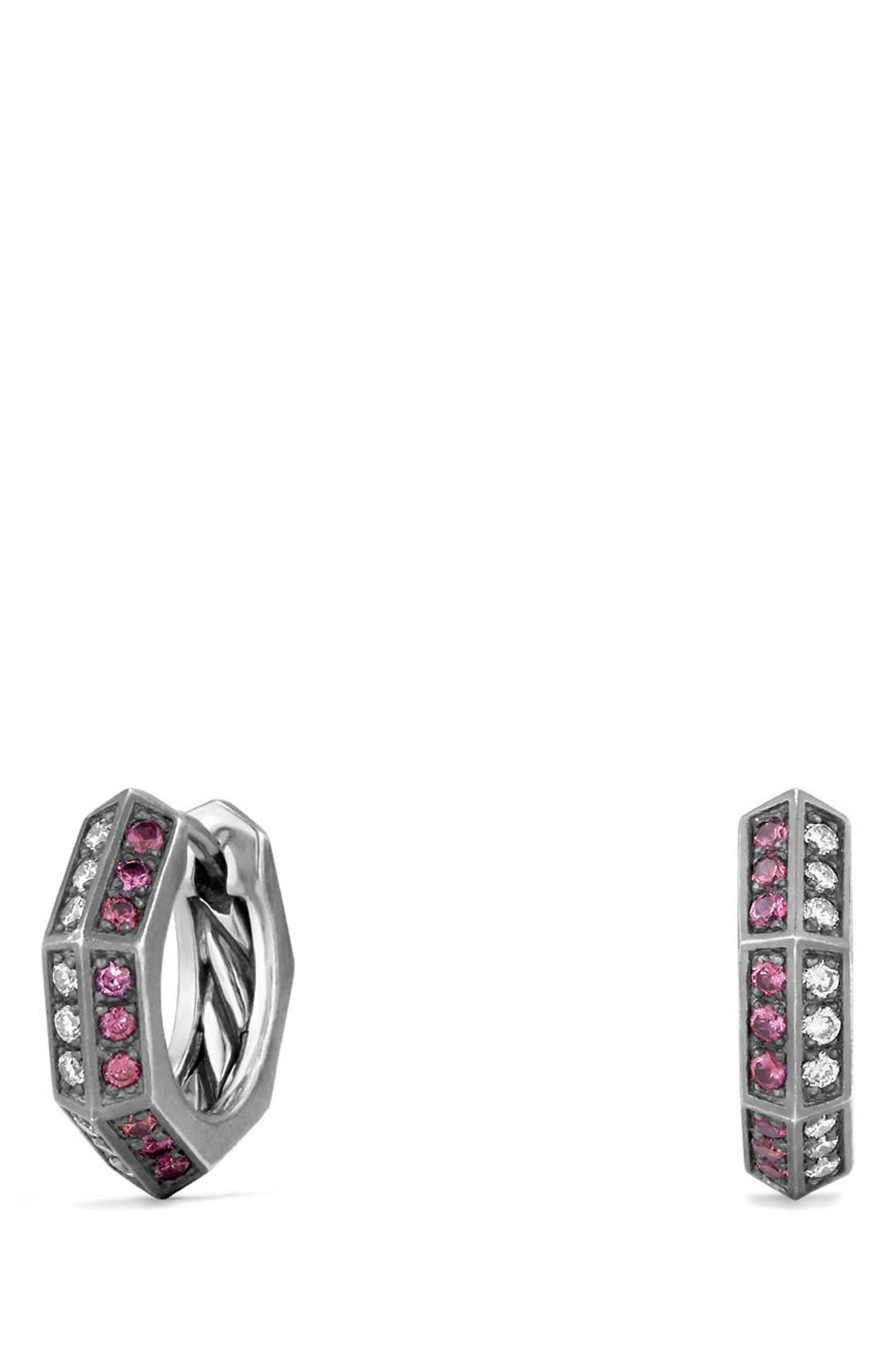 Alternate Image 1 Selected - David Yurman Stax Diamond & Ruby Hoop Earrings