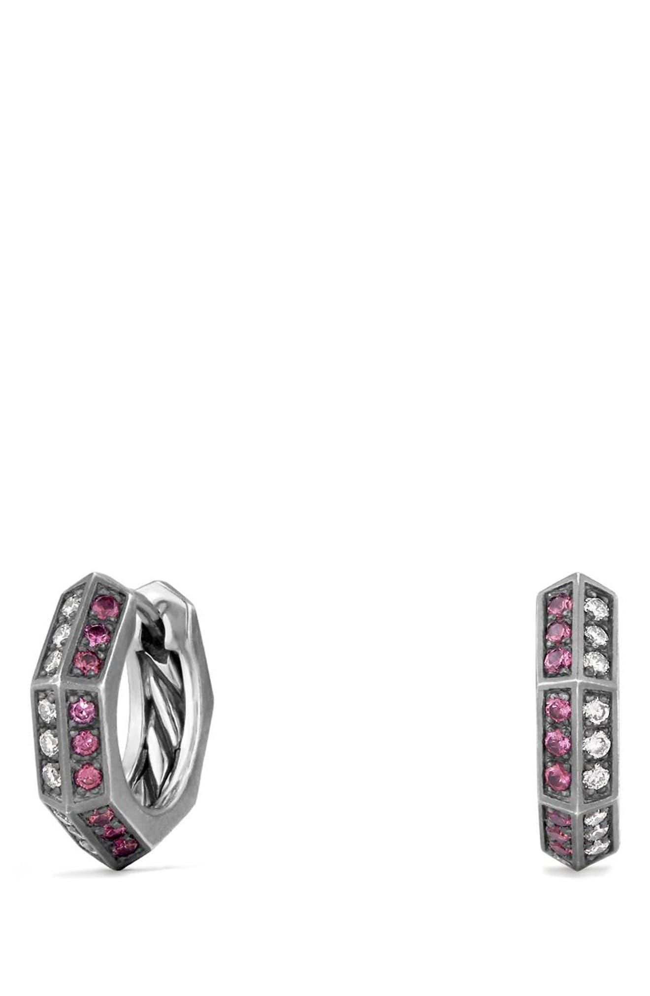 Stax Diamond & Ruby Huggie Hoop Earrings,                         Main,                         color, Silver