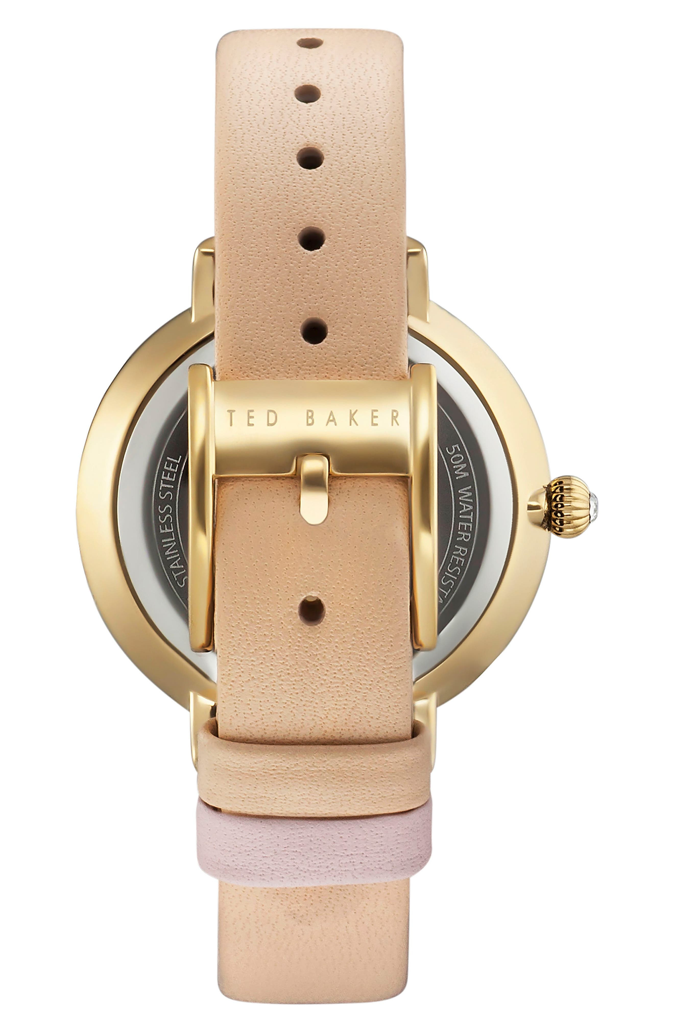 Alternate Image 2  - Ted Baker London Isla Round Leather Strap Watch, 36mm