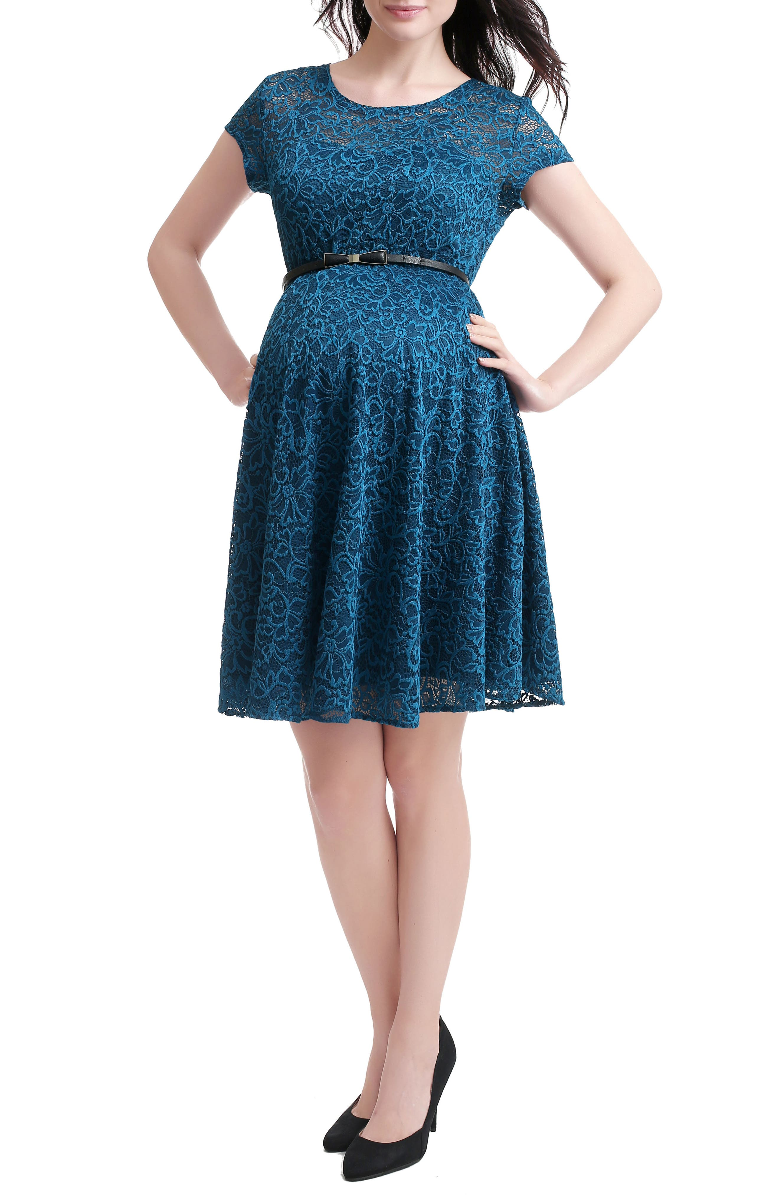 Lace Maternity Skater Dress,                         Main,                         color, Teal