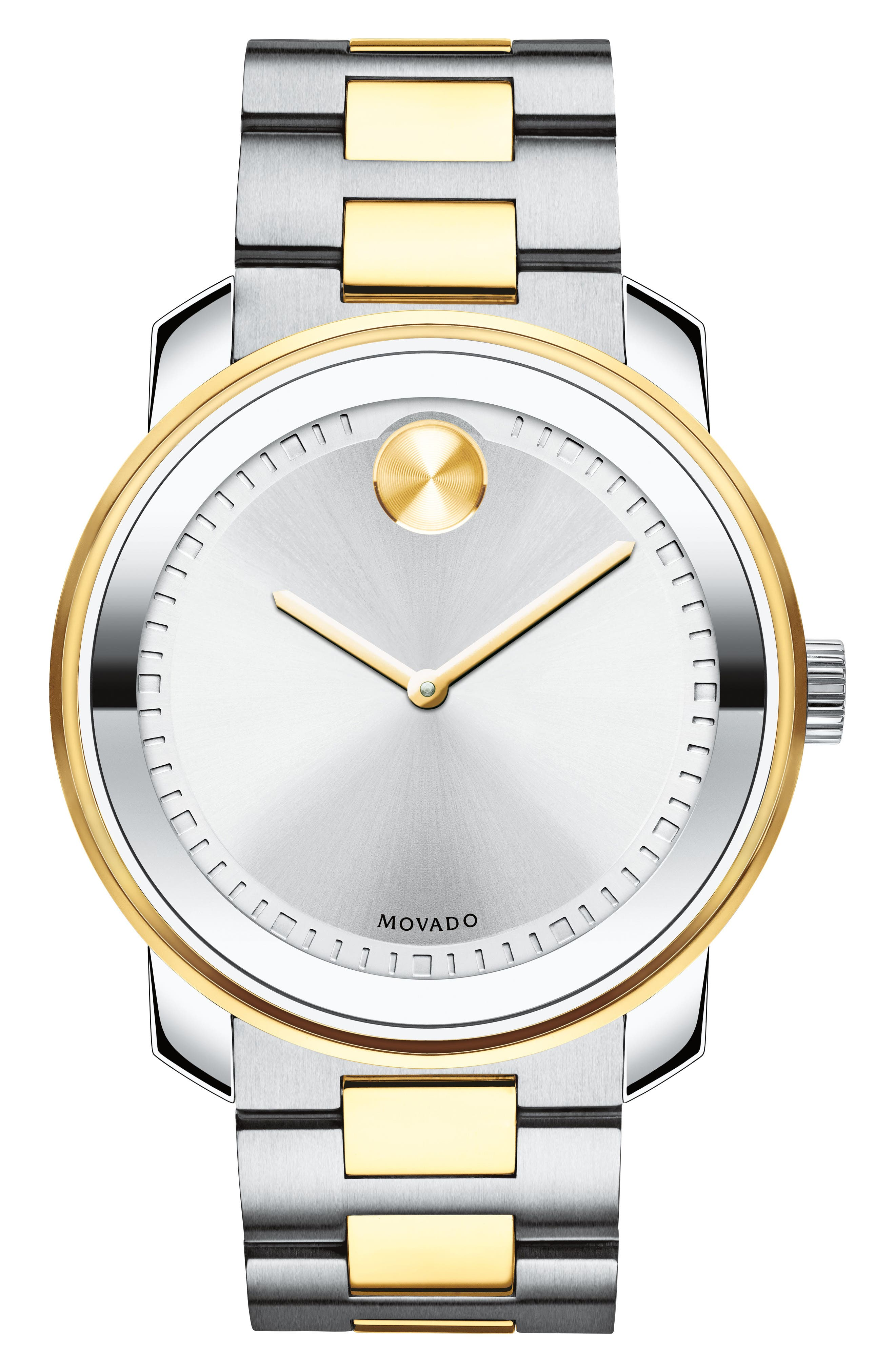 Two Tone Bracelet Watch, 43mm,                         Main,                         color, Silver/ Gold