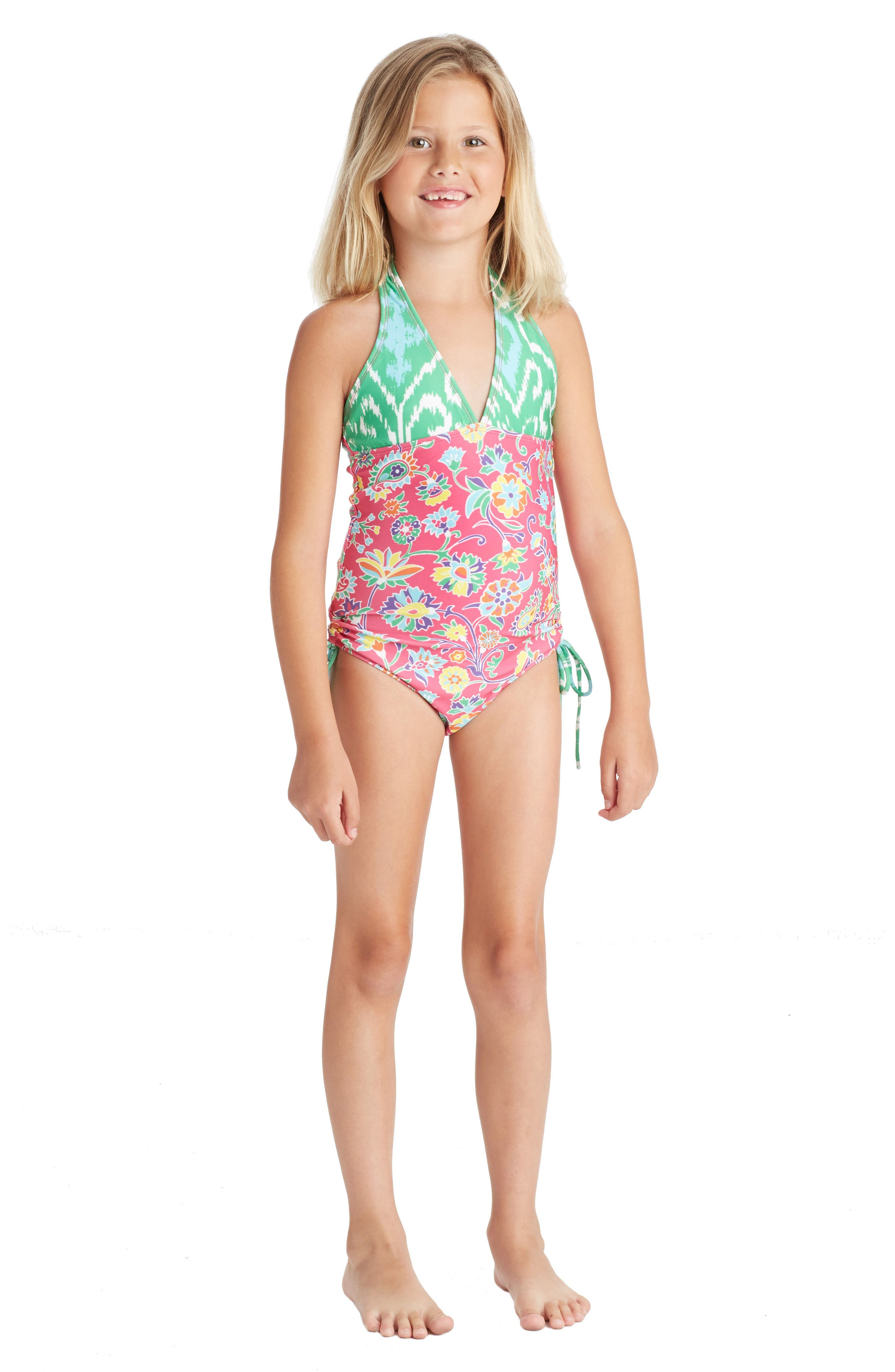 One-Piece Halter Swimsuit,                             Alternate thumbnail 3, color,                             Pink