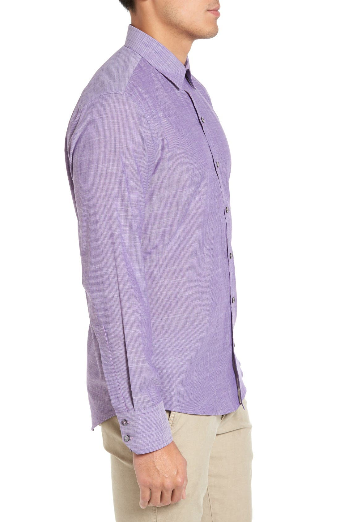 Snower Slim Fit Sport Shirt,                             Alternate thumbnail 3, color,                             Purple