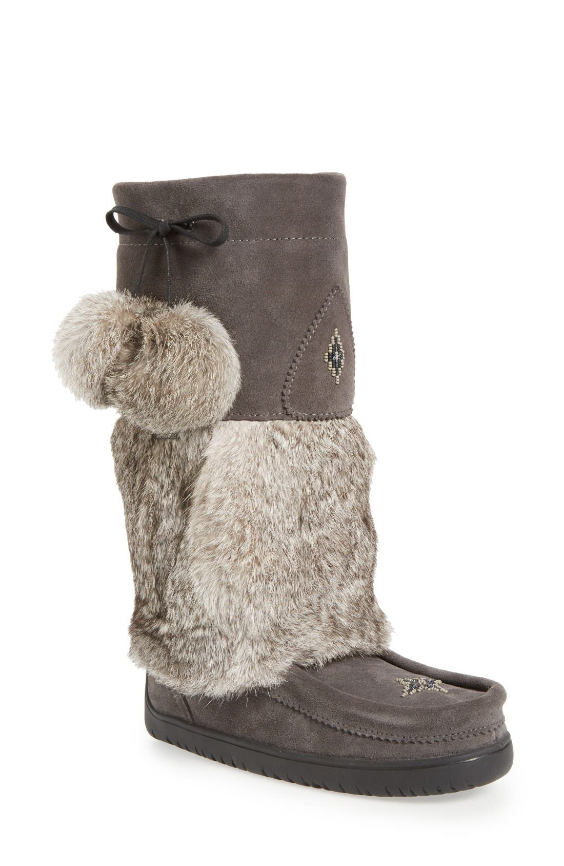MANITOBAH MUKLUKS Snowy Owl Waterproof Genuine Fur Waterproof Boot in Charcoal Rabbit Fur Suede