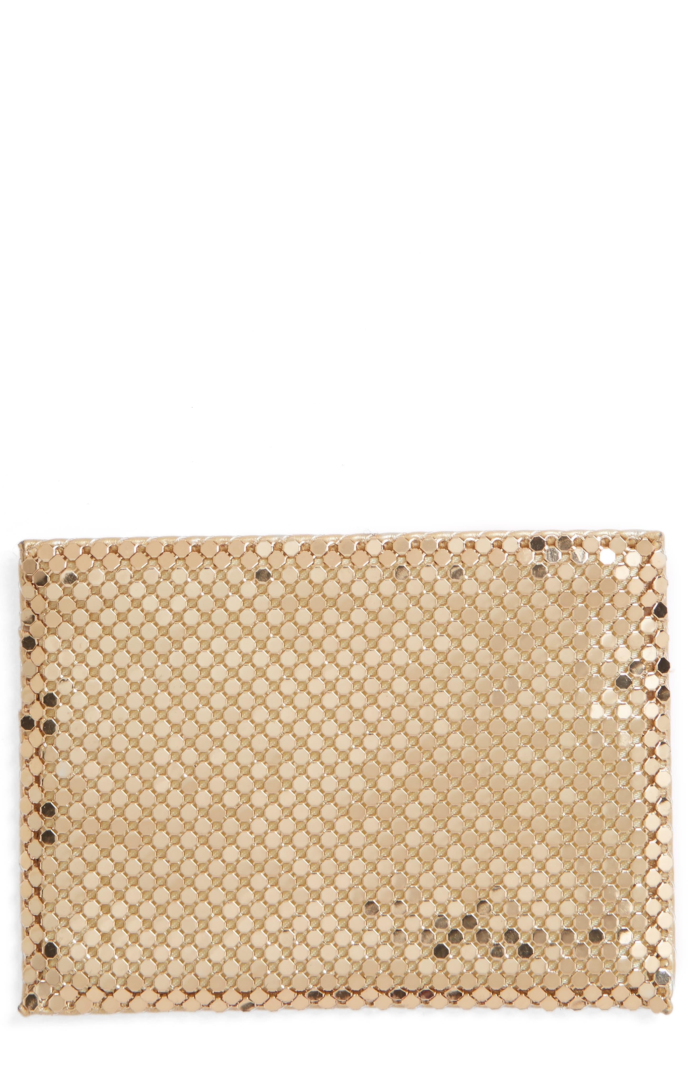 Faux Leather & Mesh Card Case,                             Main thumbnail 1, color,                             Gold