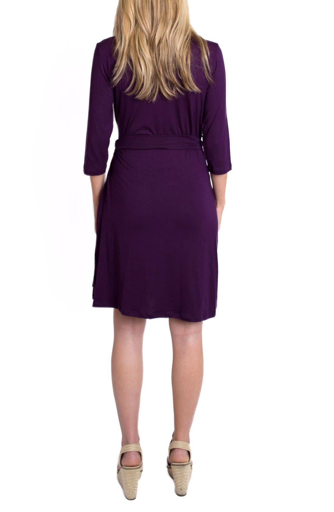 'Whimsical' Nursing Wrap Dress,                             Alternate thumbnail 2, color,                             Plum