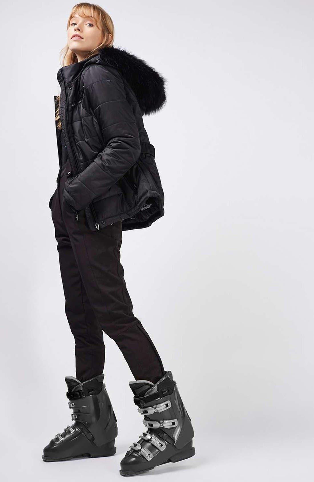 Alternate Image 2  - Topshop Bowie Faux Fur Trim Ski Jacket