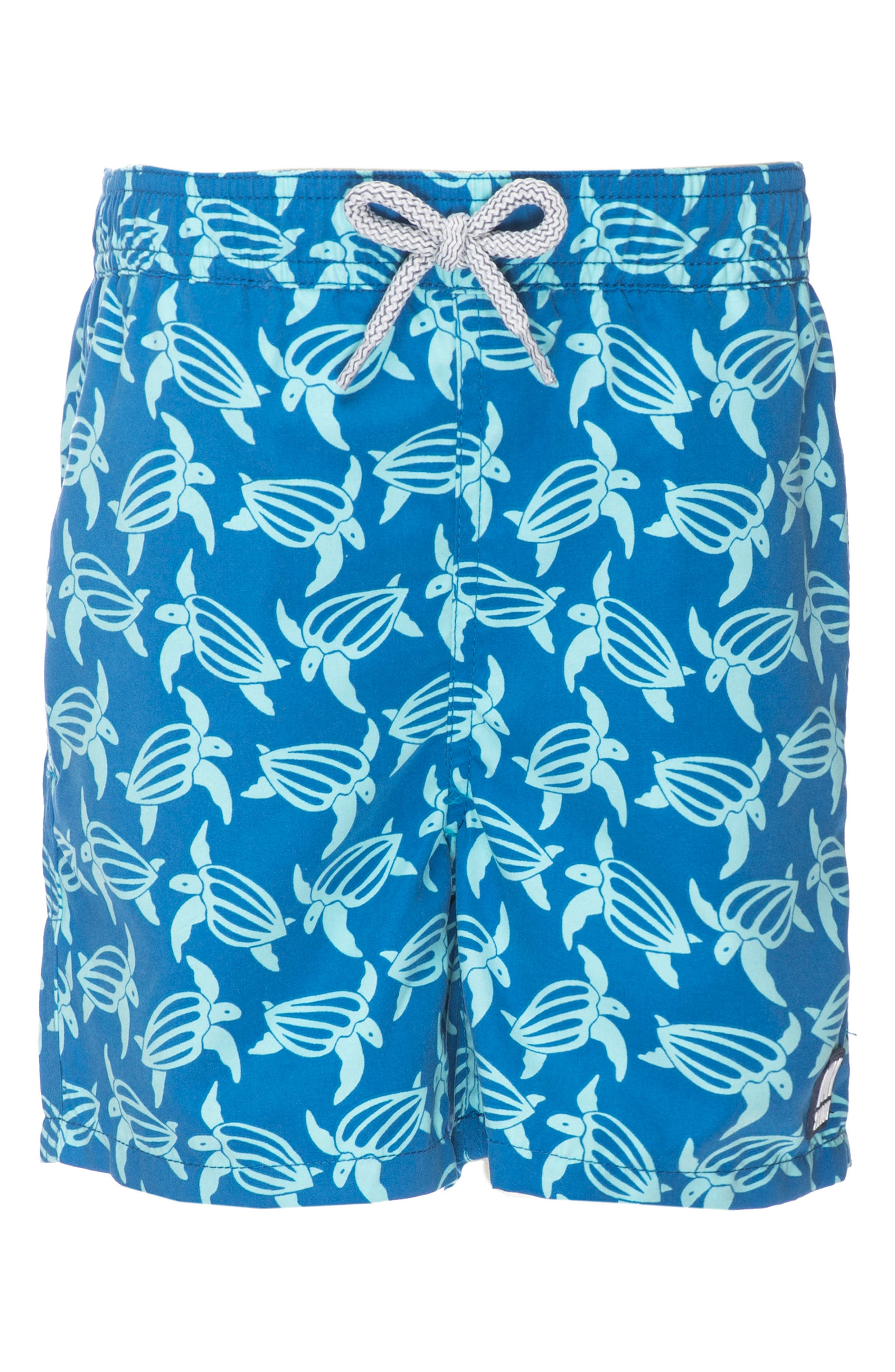Turtle Swim Trunks,                             Alternate thumbnail 2, color,                             Mid Blue/ Sky