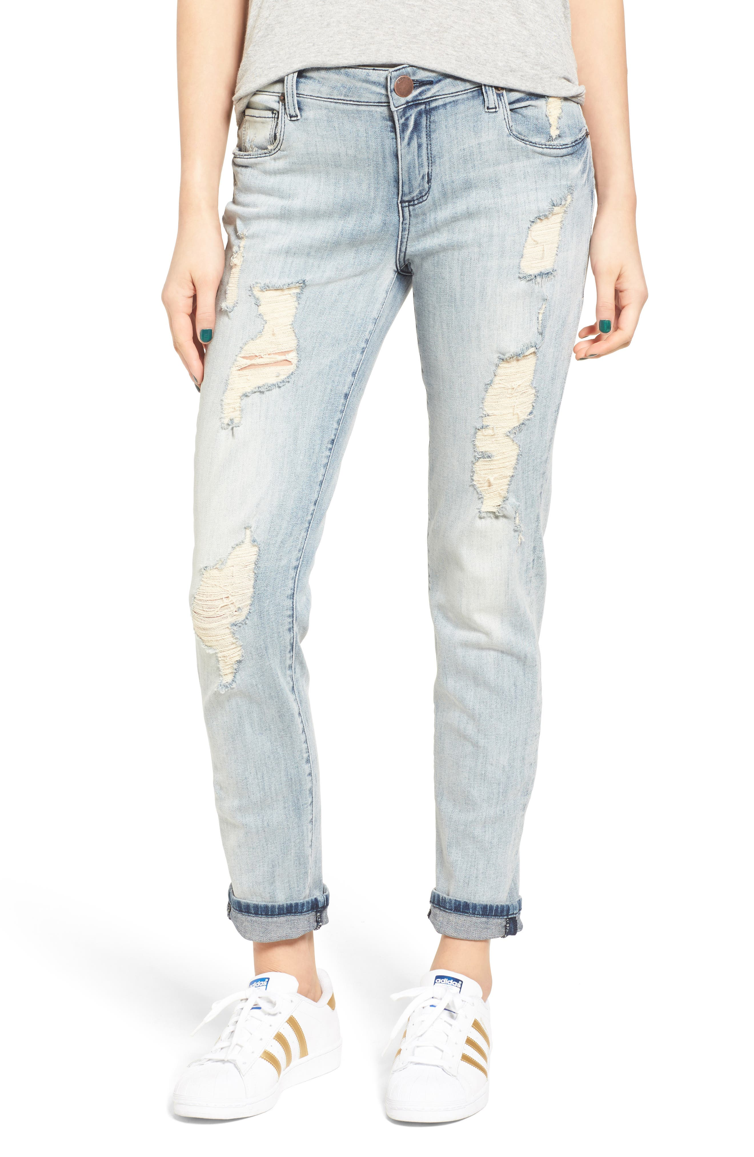 Carlie Tomboy Destroyed Jeans,                         Main,                         color, Greenfield