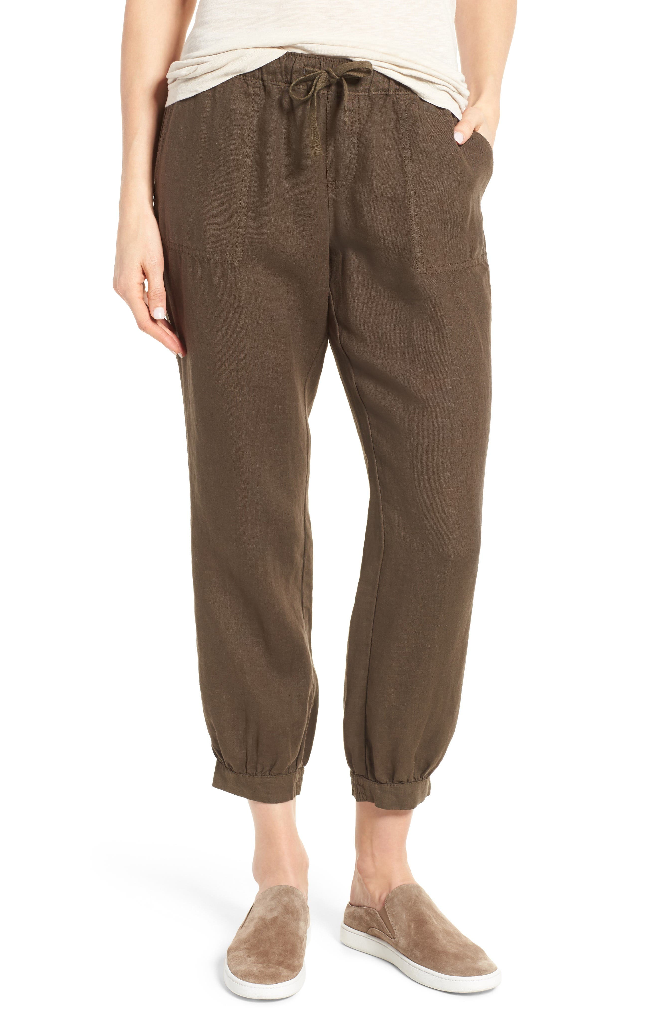 Crop Linen Joggers,                         Main,                         color, Olive Tuscan