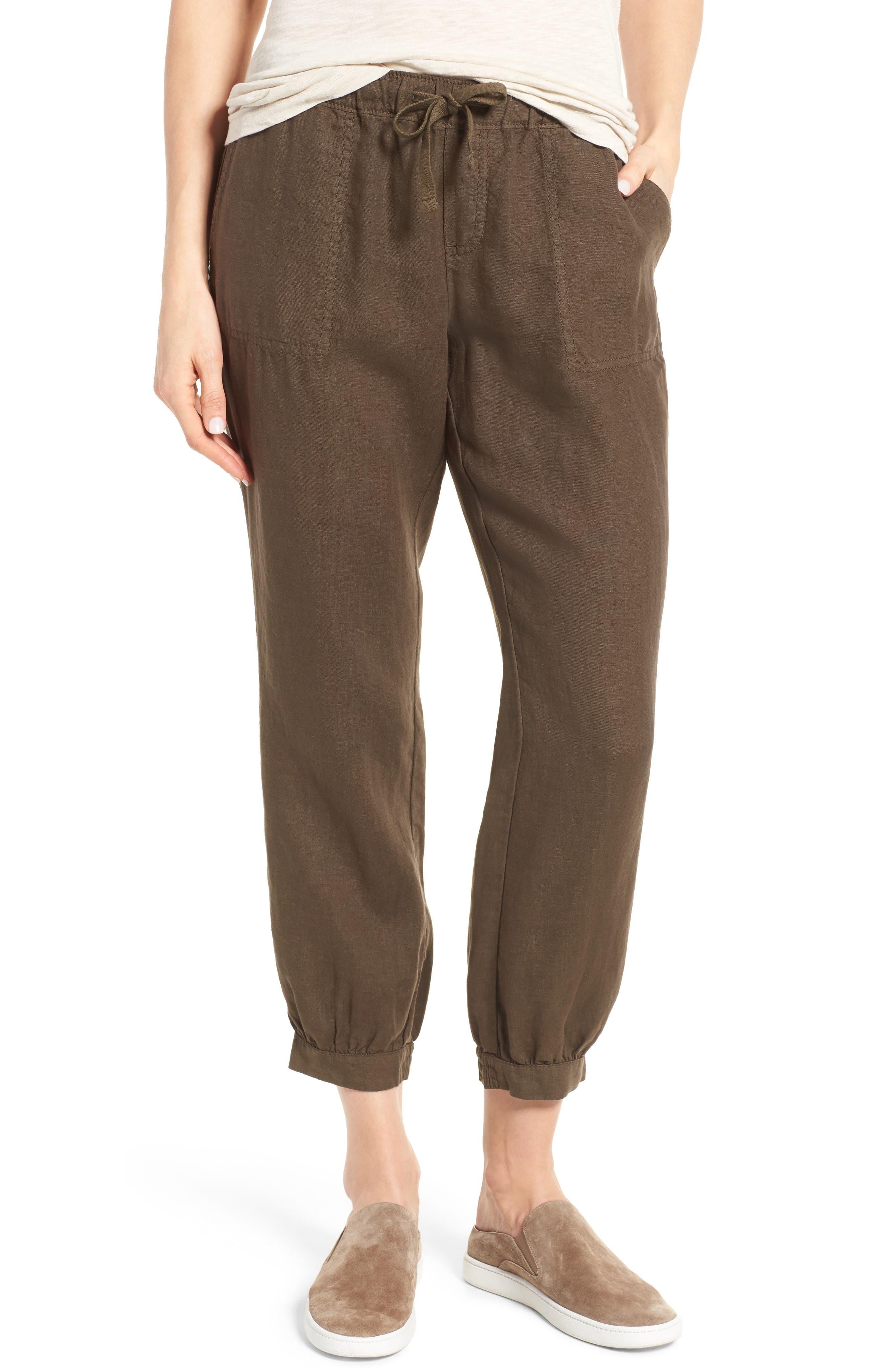 Caslon® Crop Linen Joggers (Regular & Petite)