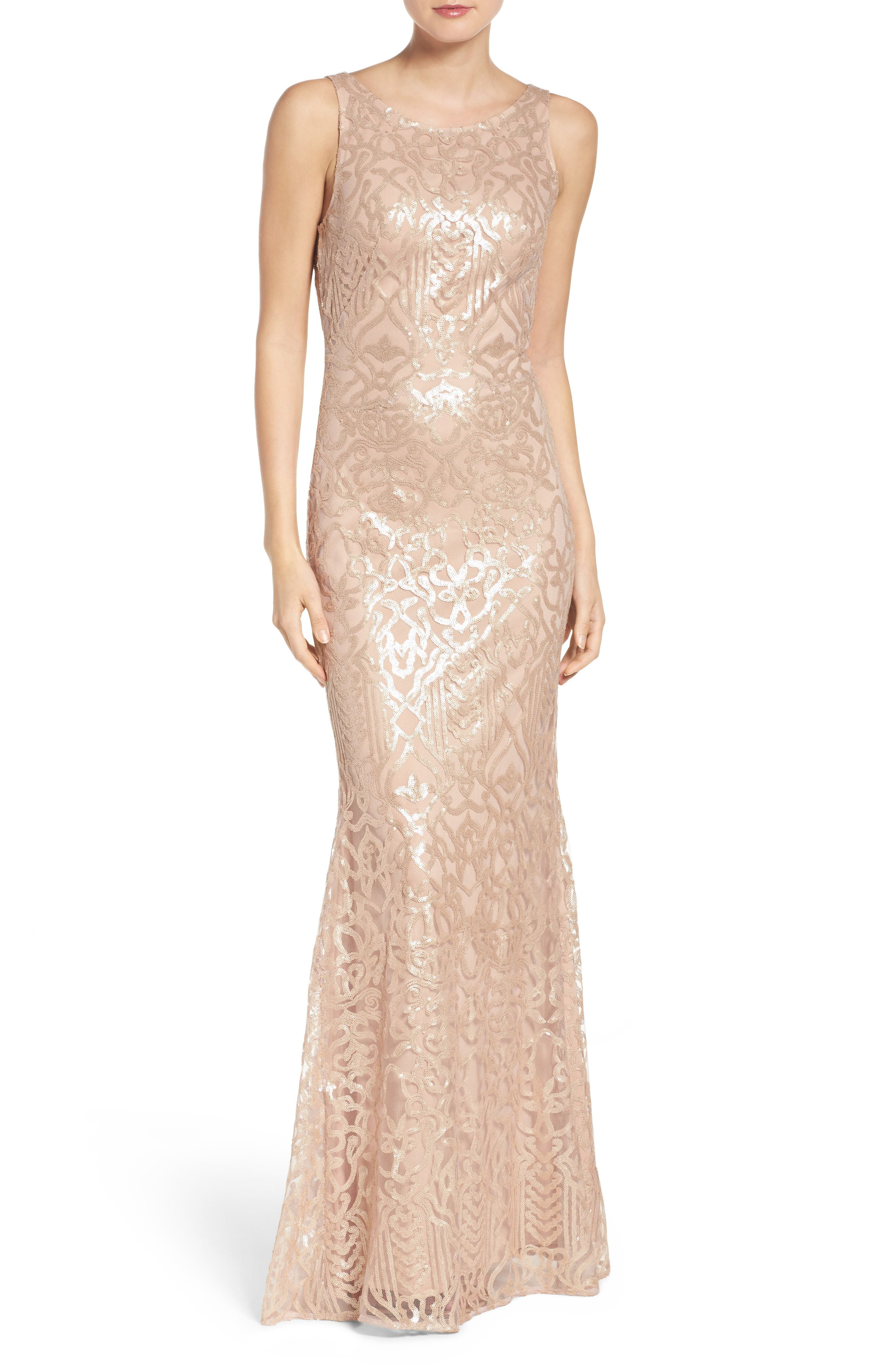 Sequin Embroidered Cowl Back A-Line Gown,                             Main thumbnail 1, color,                             Latte