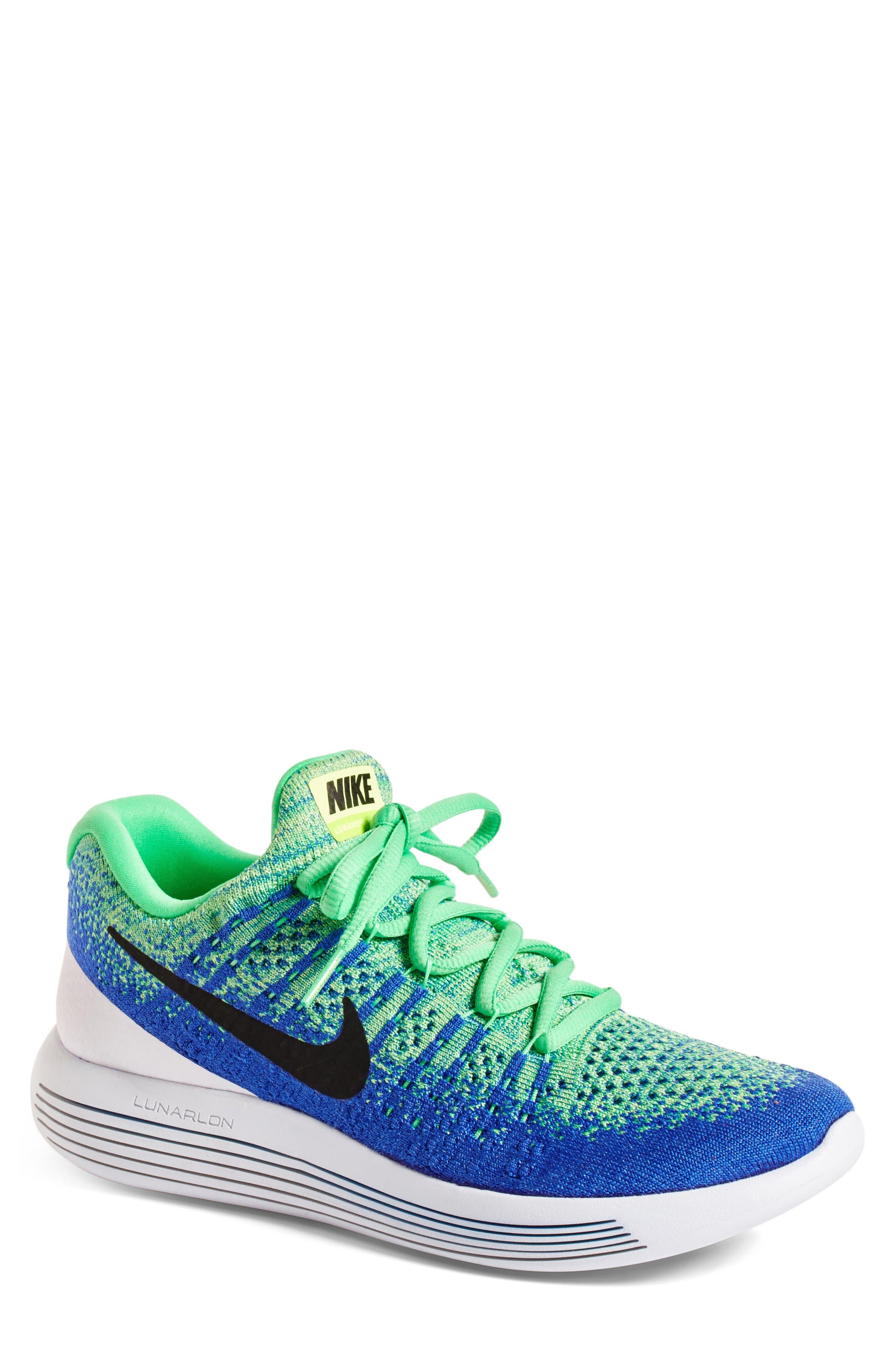 Flyknit 2 LunarEpic Running Shoe,                             Main thumbnail 1, color,                             Electro Green/ Black/ Blue
