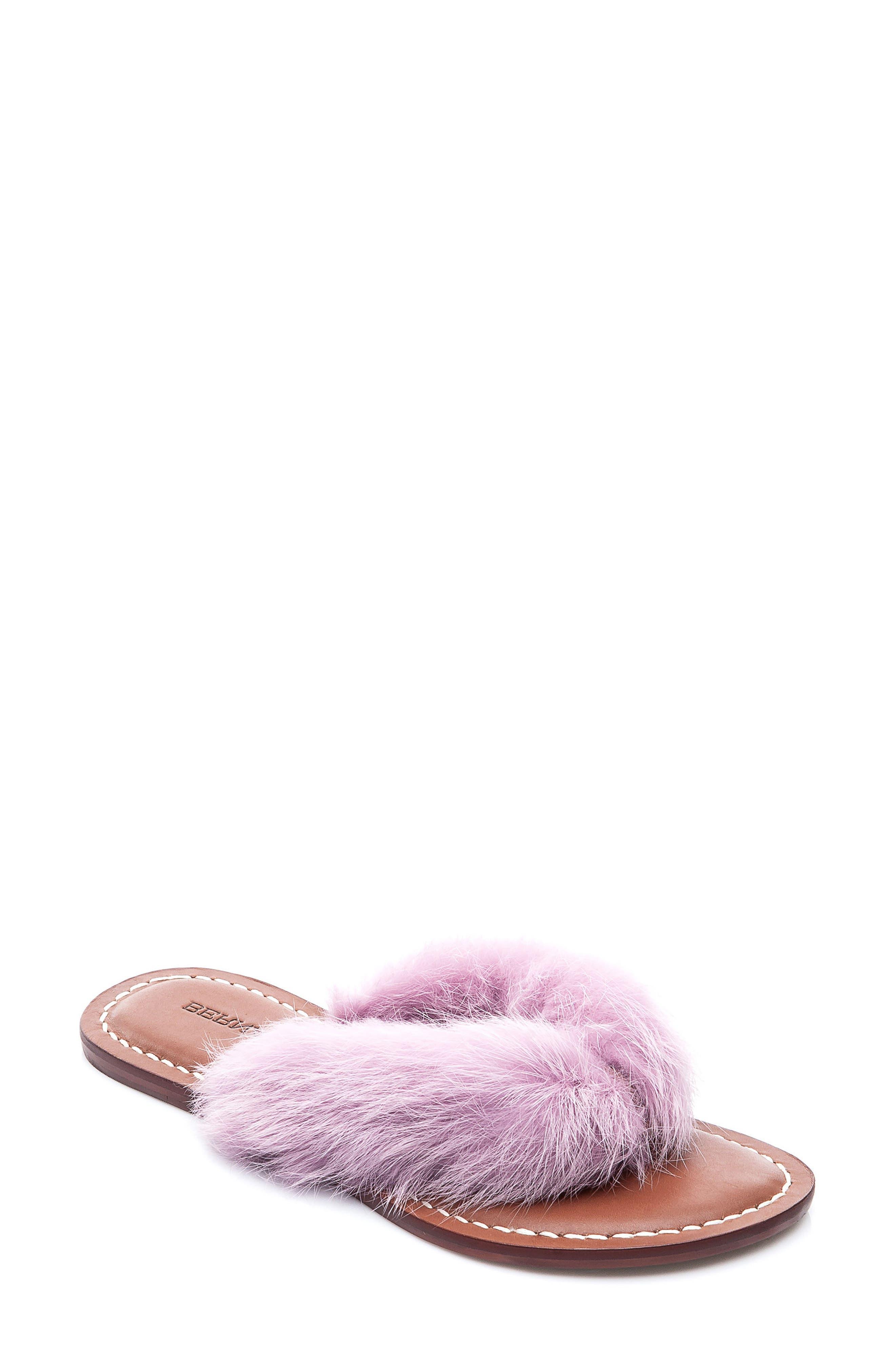 Genuine Rabbit Fur Flip Flop,                             Main thumbnail 1, color,                             Light Pink Fur