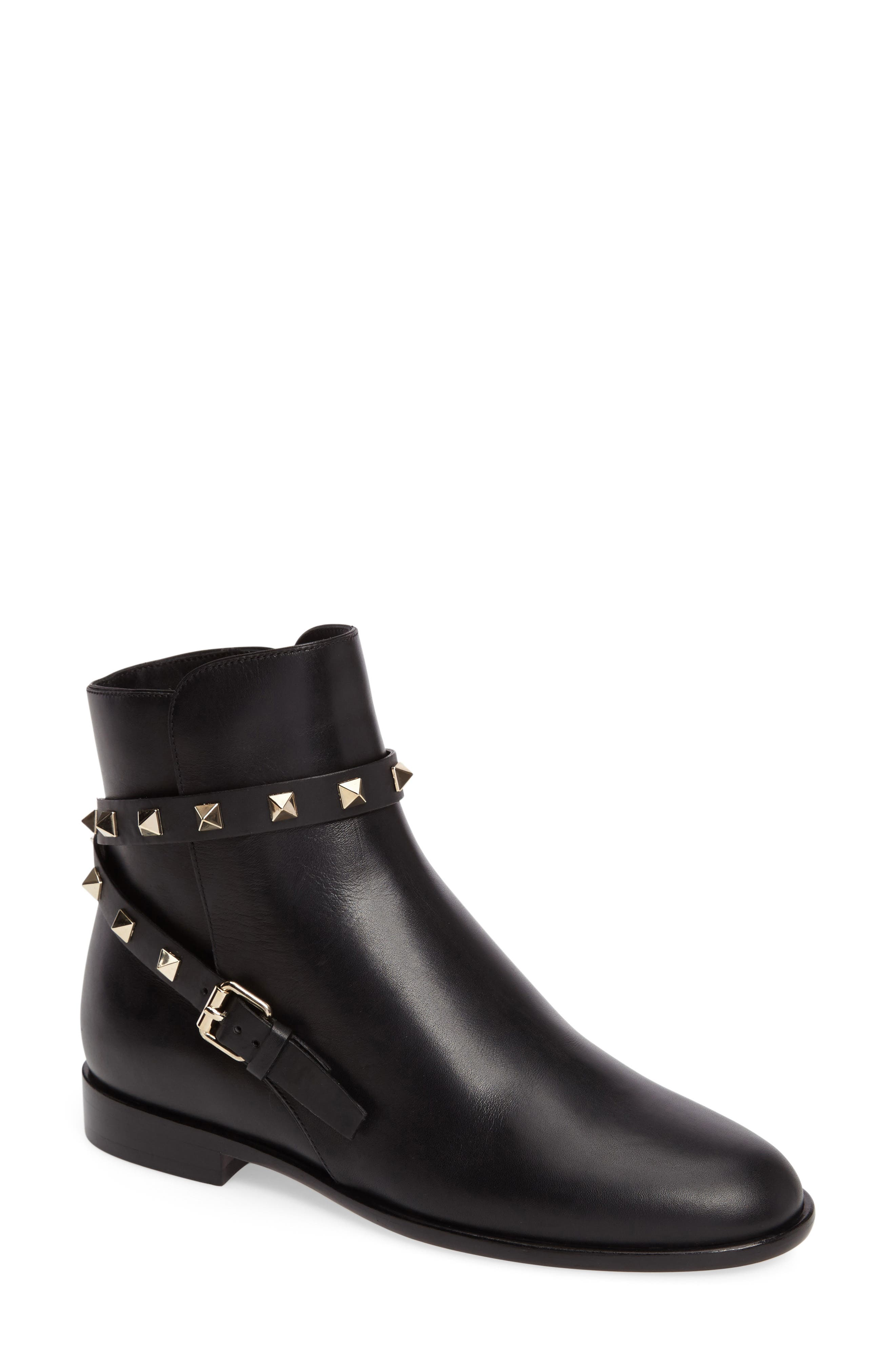 Rockstud Short Bootie,                         Main,                         color, Black Leather