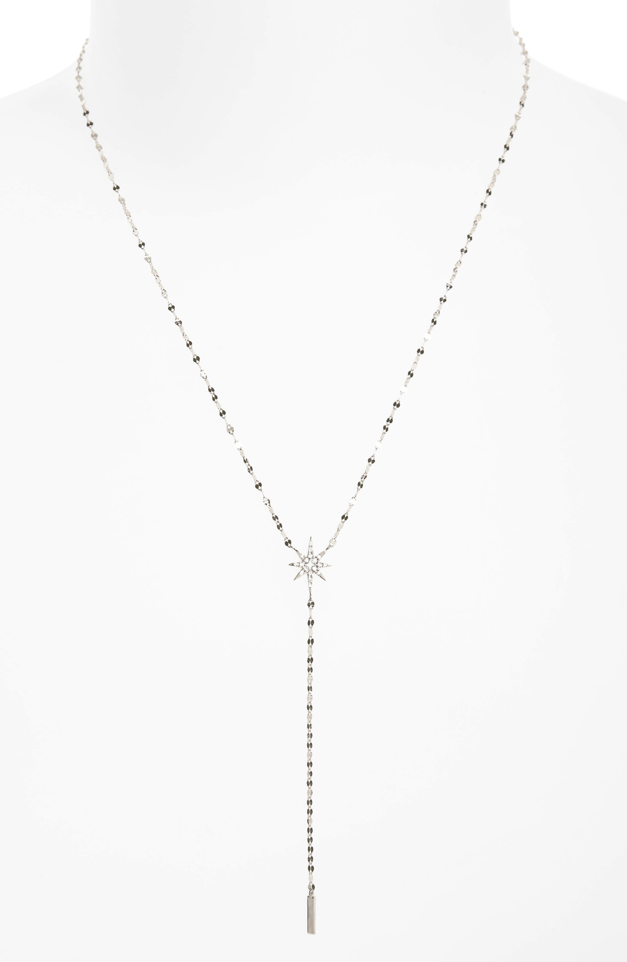 Flawless Diamond Star Y-Necklace,                         Main,                         color, White Gold