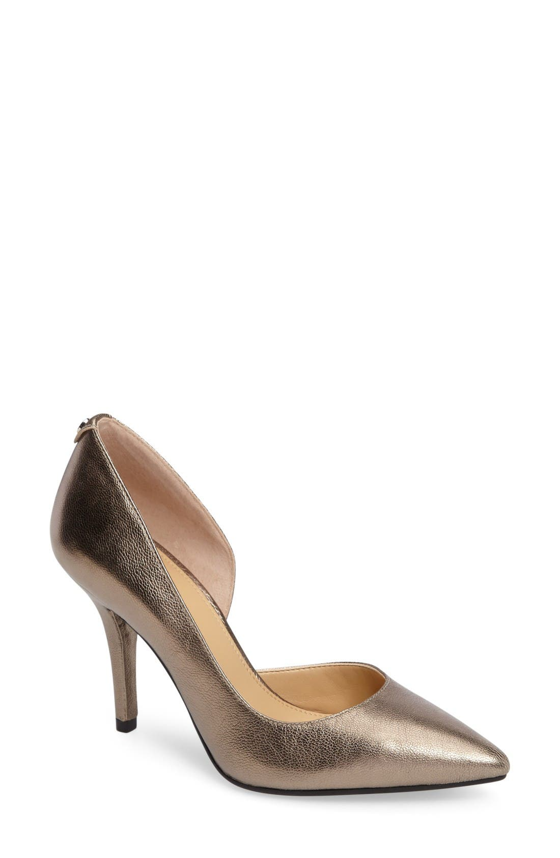 Nathalie Demi d'Orsay Pointy Toe Pump,                             Main thumbnail 1, color,                             Nickel
