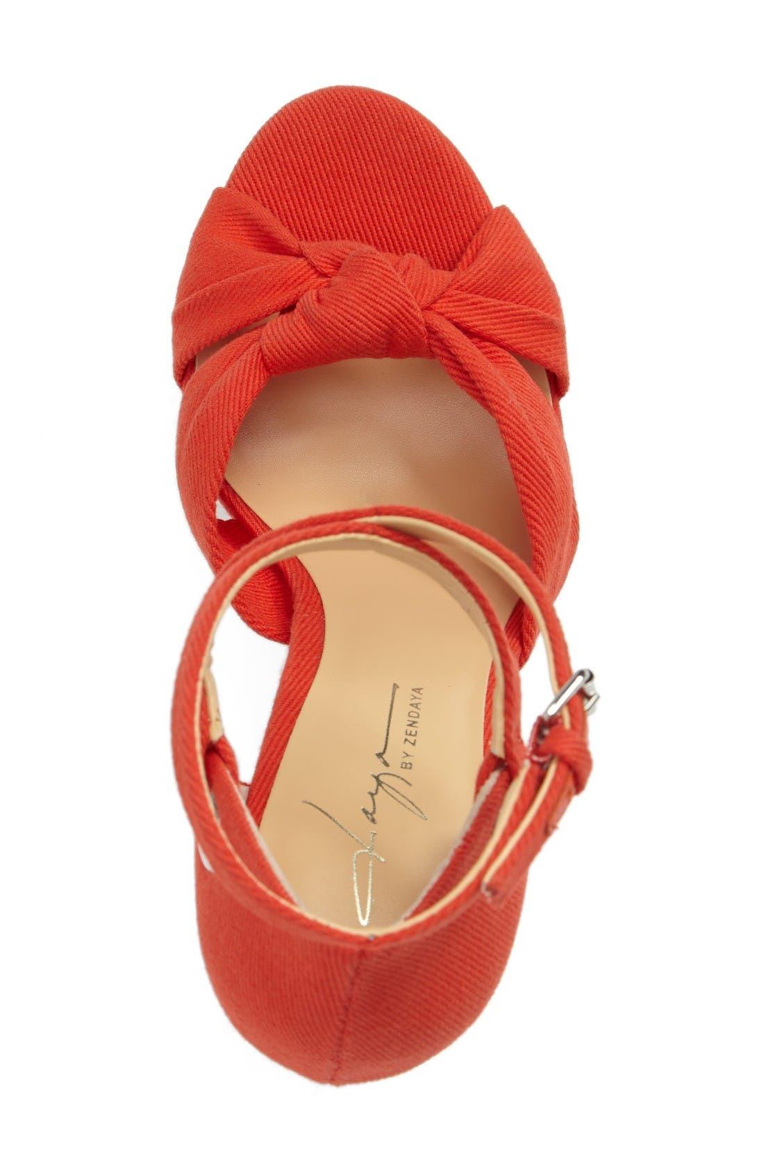 by Zendaya Mission Ankle Wrap Platform Pump,                             Alternate thumbnail 3, color,                             Mandarin Red