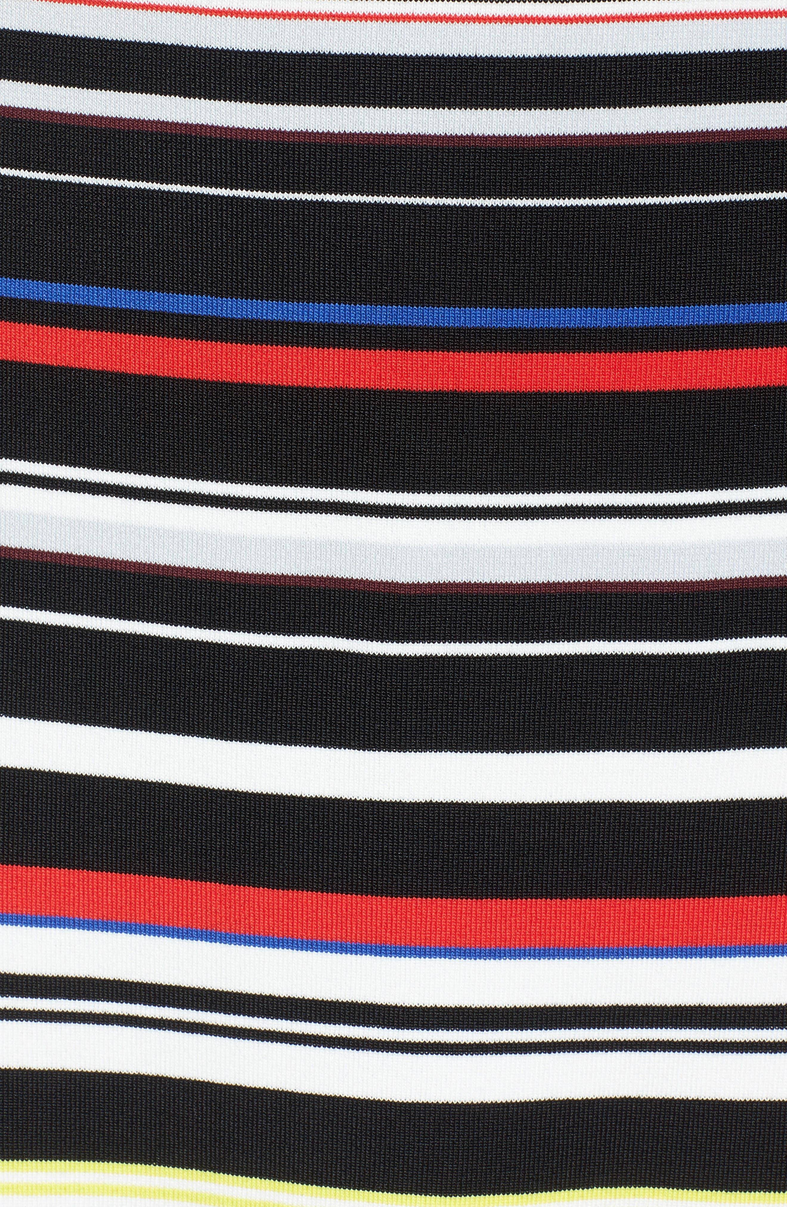 Sleeveless Mock Neck Knit Dress,                             Alternate thumbnail 6, color,                             Black- Red Stripe