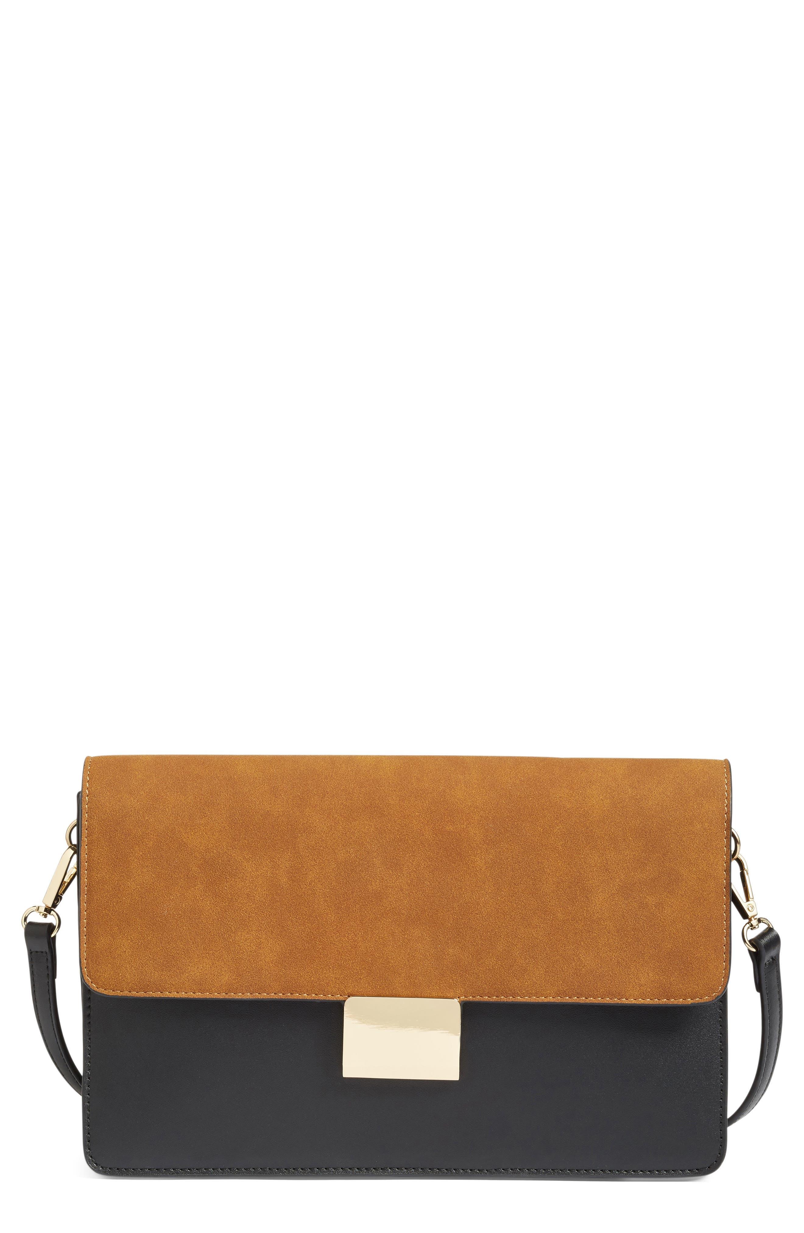 Leighton Colorblock Faux Leather Crossbody Bag,                             Main thumbnail 1, color,                             Black/Cognac
