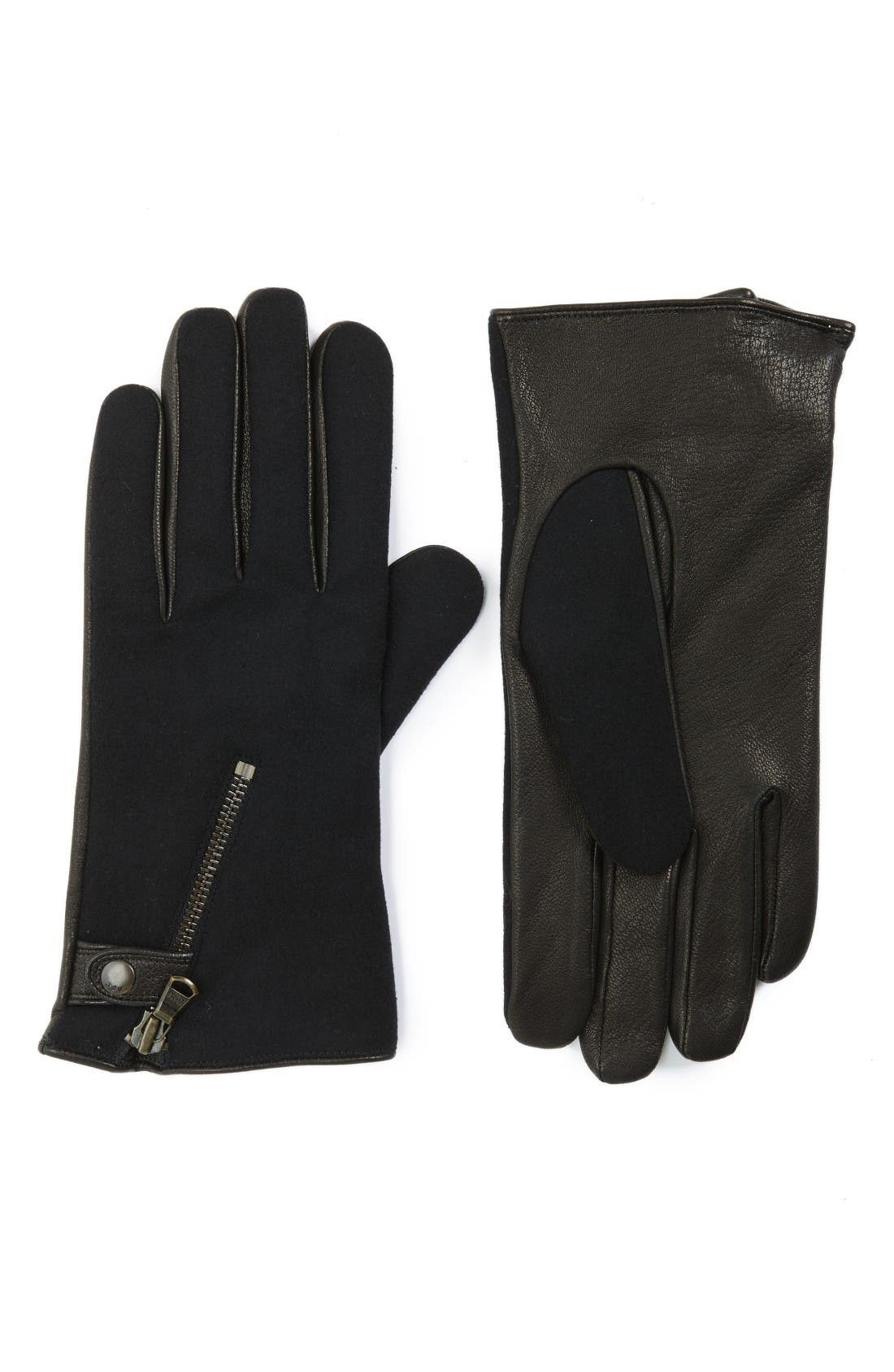 Wool Blend Zip Gloves,                         Main,                         color, Black