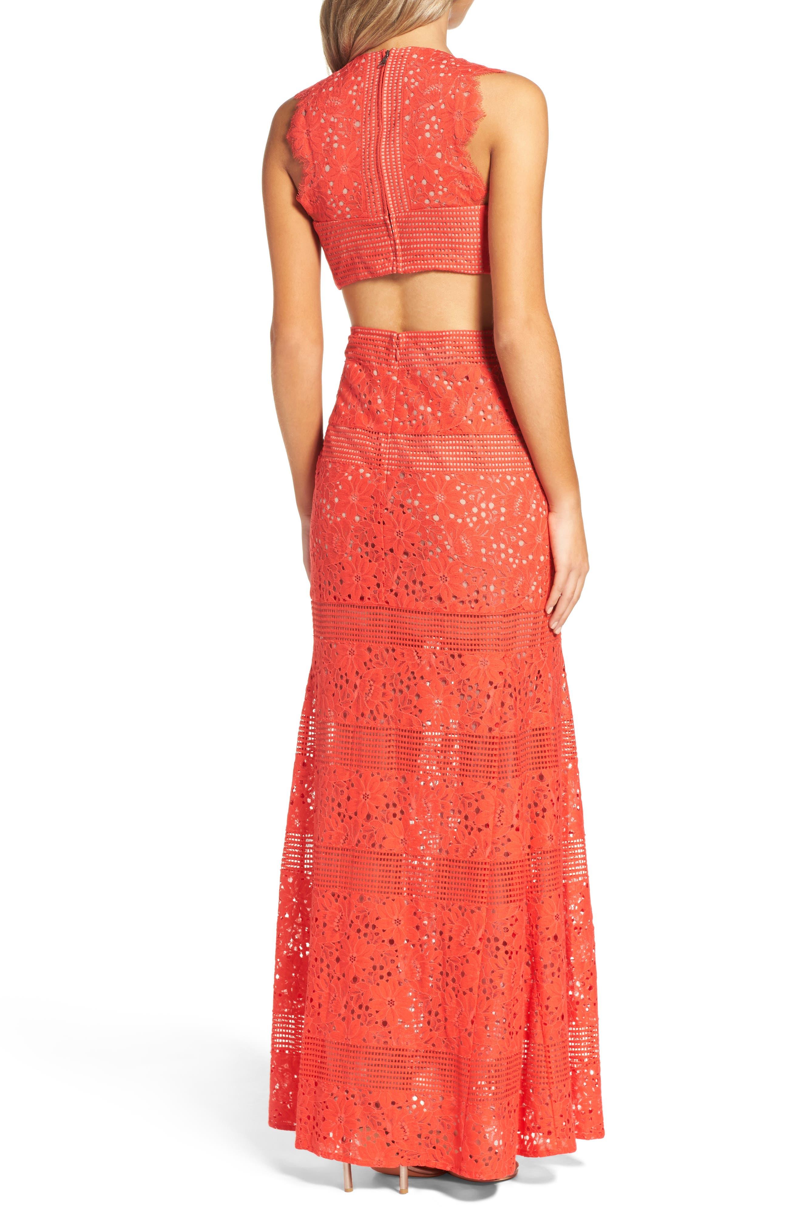 Alternate Image 2  - BCBGMAXAZRIA Merida Open Back Lace Gown