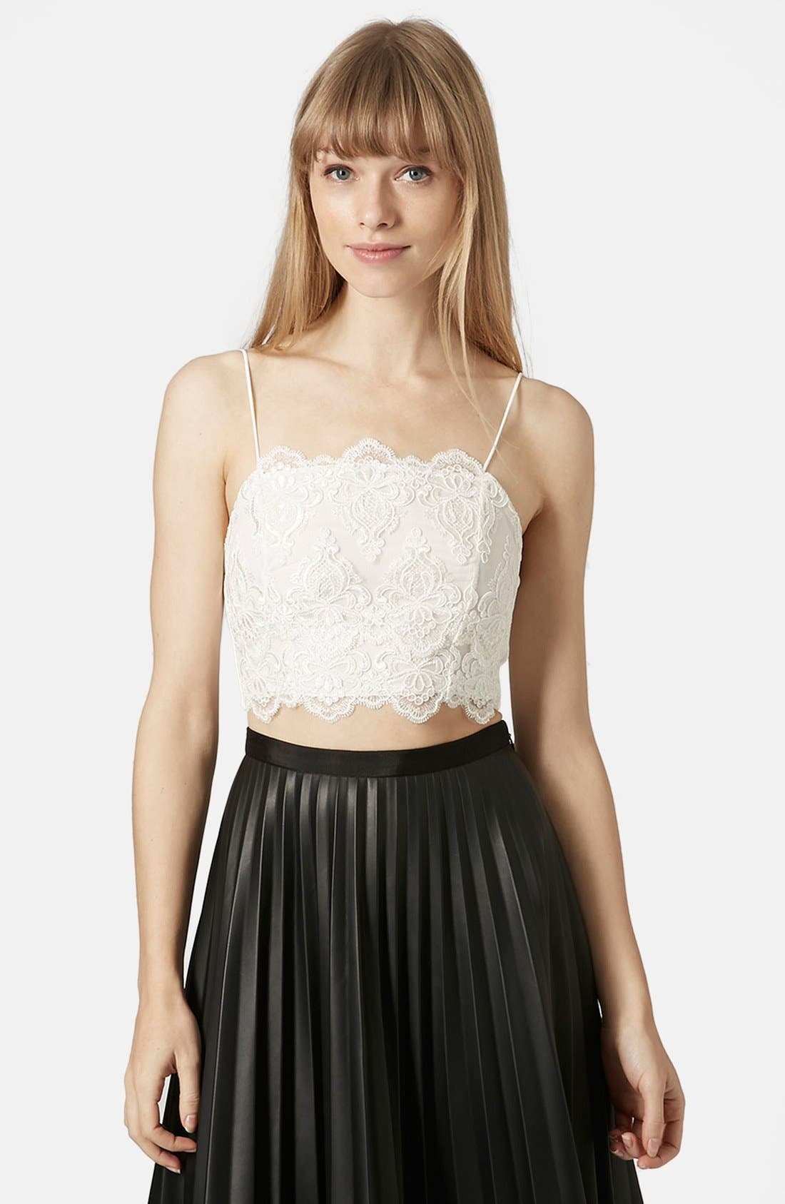 Alternate Image 1 Selected - Topshop Scalloped Lace Bralette