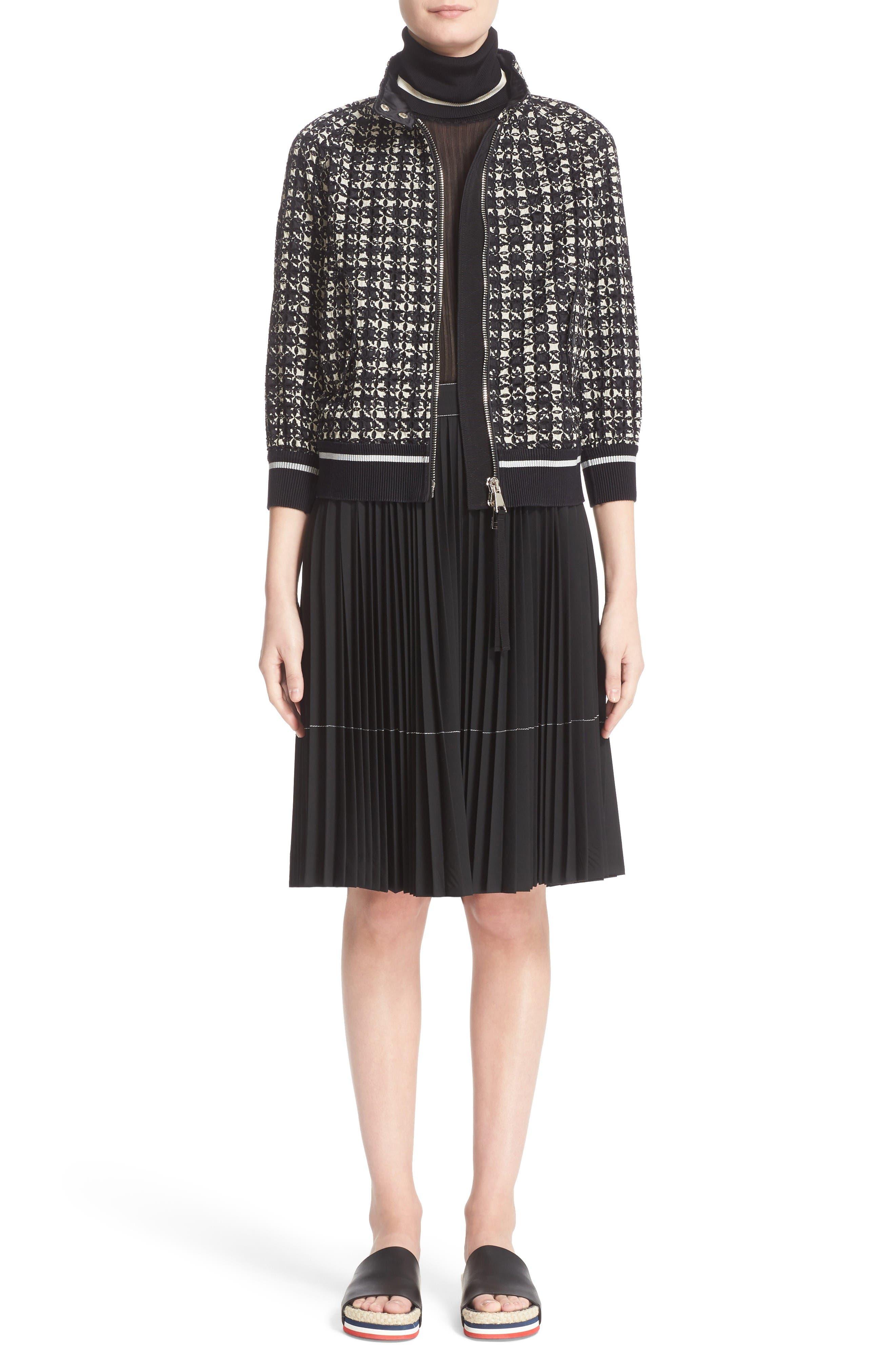 Fiadone Tweed Print Jacket,                             Alternate thumbnail 6, color,                             Black