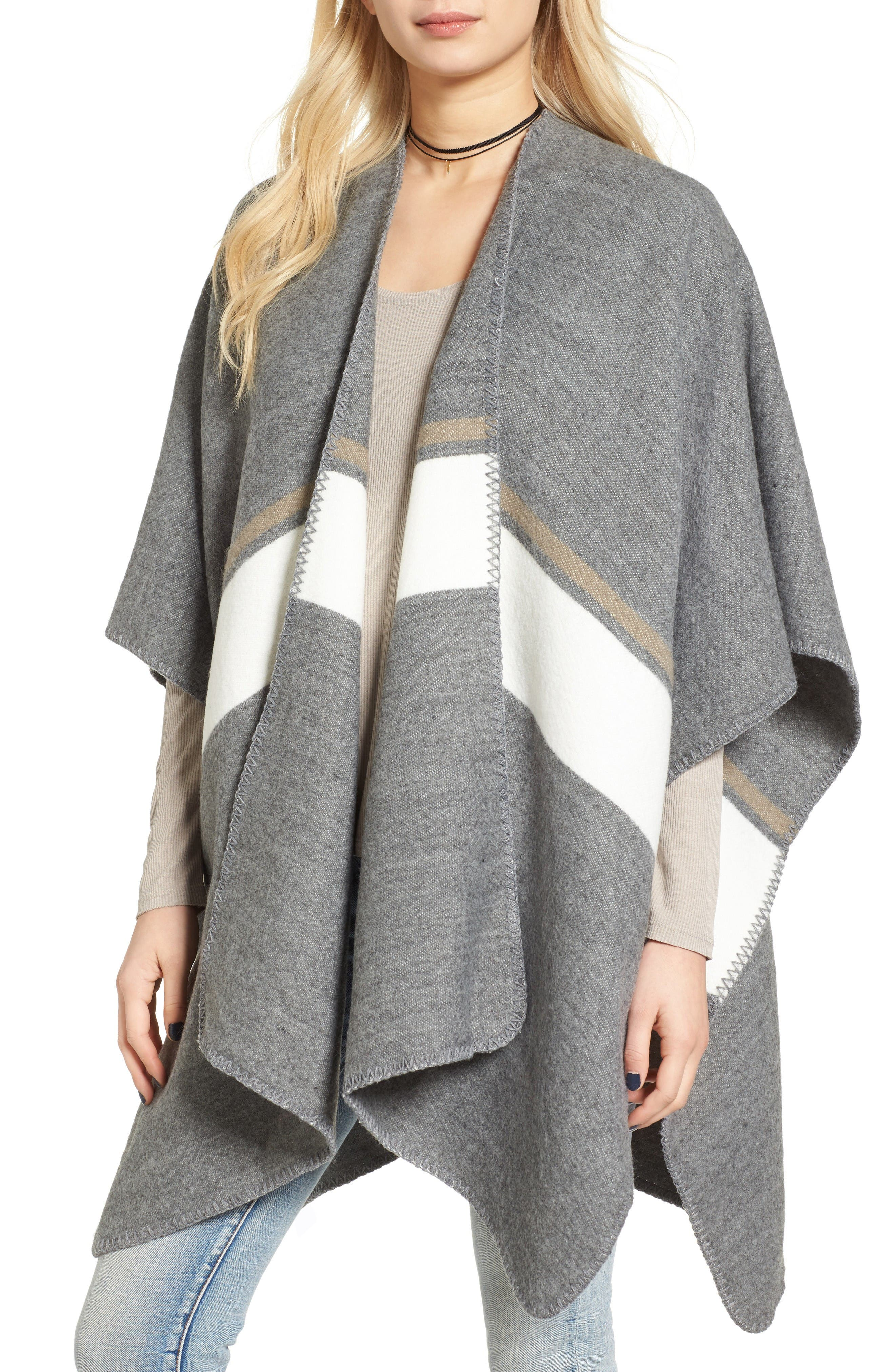 Stripe Poncho,                             Main thumbnail 1, color,                             Grey