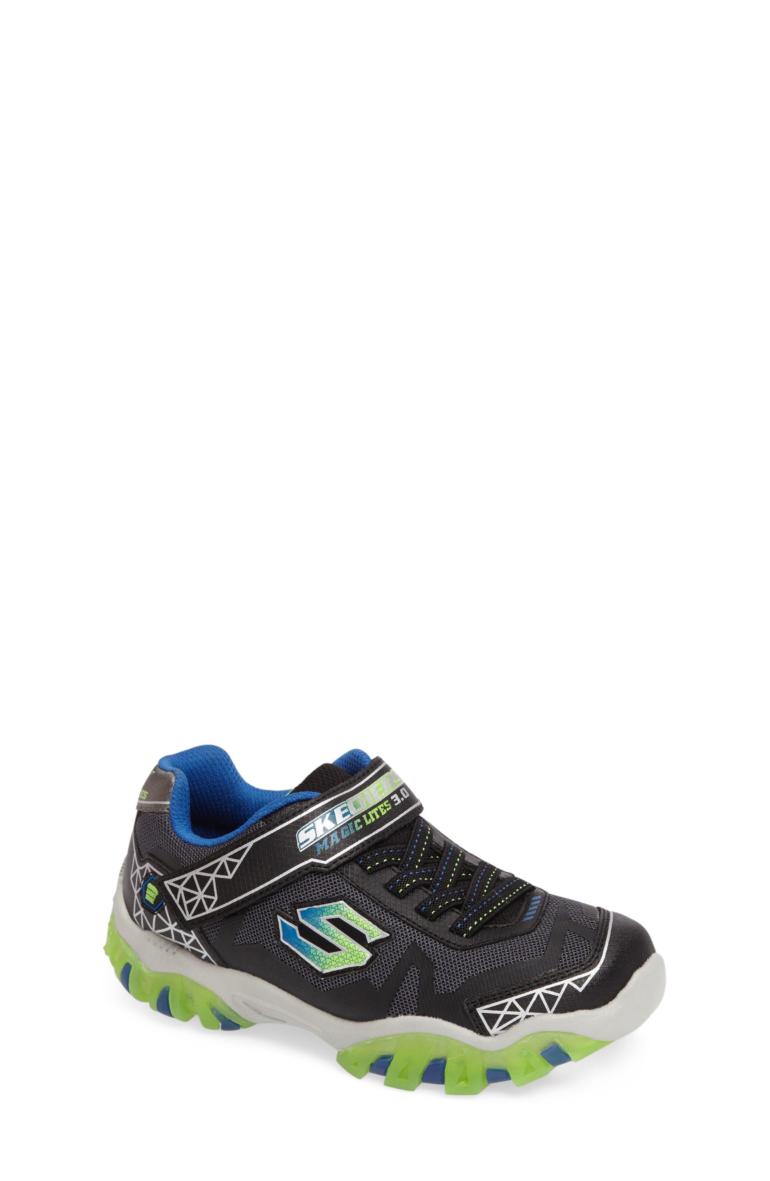 Magic Lites - Street Lightz 2.0 Light-Up Sneaker,                             Main thumbnail 1, color,                             Black/ Green