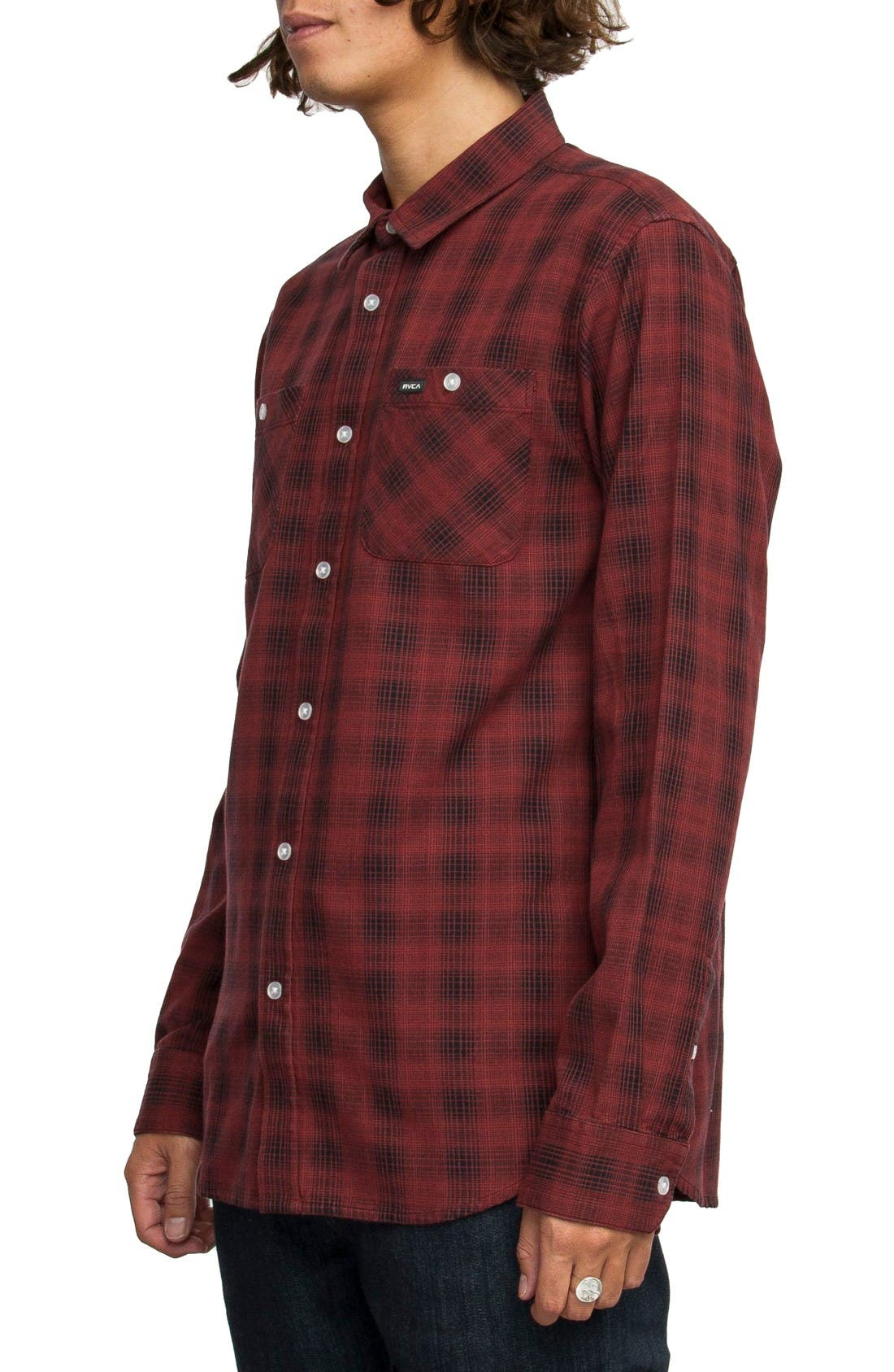 Alternate Image 3  - RVCA Trample Plaid Flannel Shirt