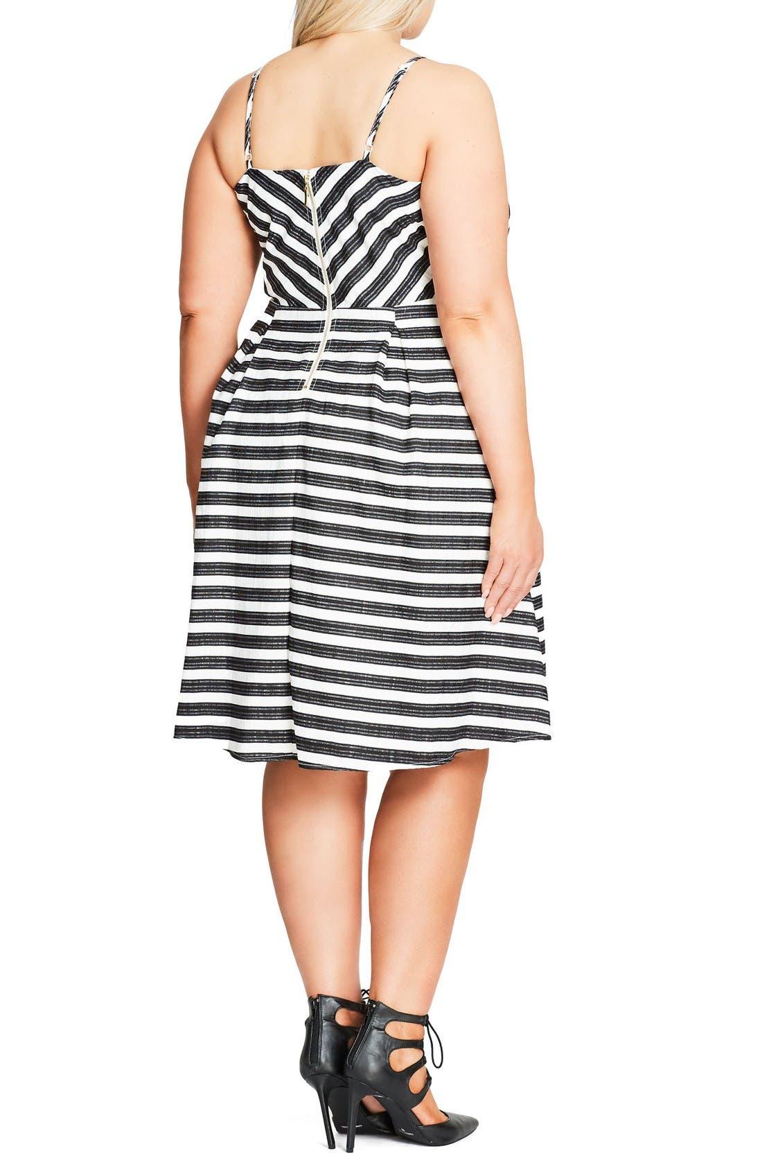 Marilyn Stripe Fit & Flare Sundress,                             Alternate thumbnail 2, color,                             Ivory