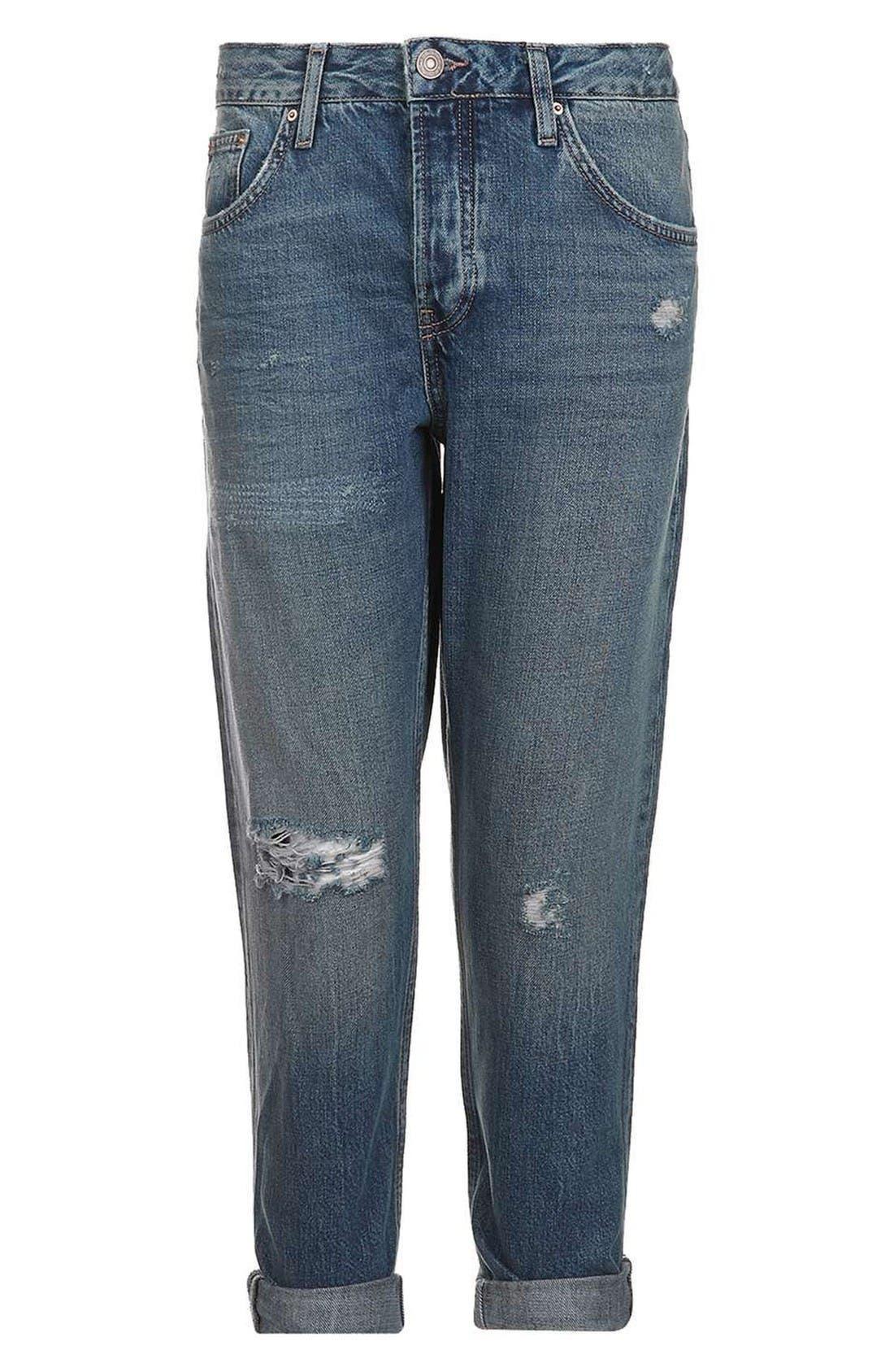 Moto Hayden Destroyed Boyfriend Jeans,                             Alternate thumbnail 4, color,                             Dirty Blue