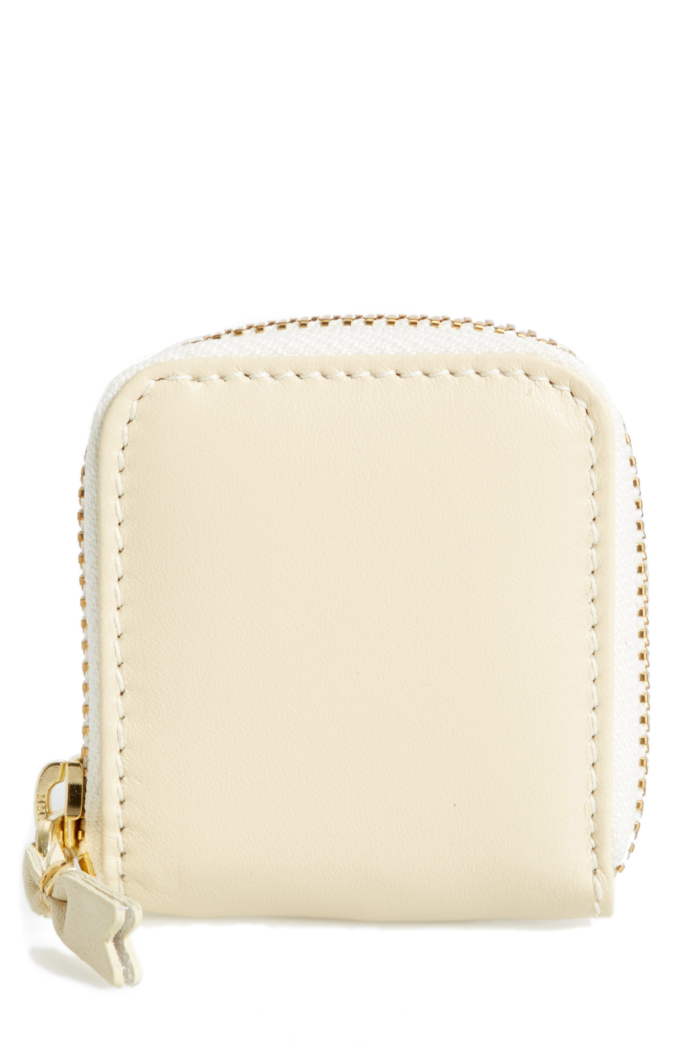 Leather Coin Purse,                         Main,                         color, Off White