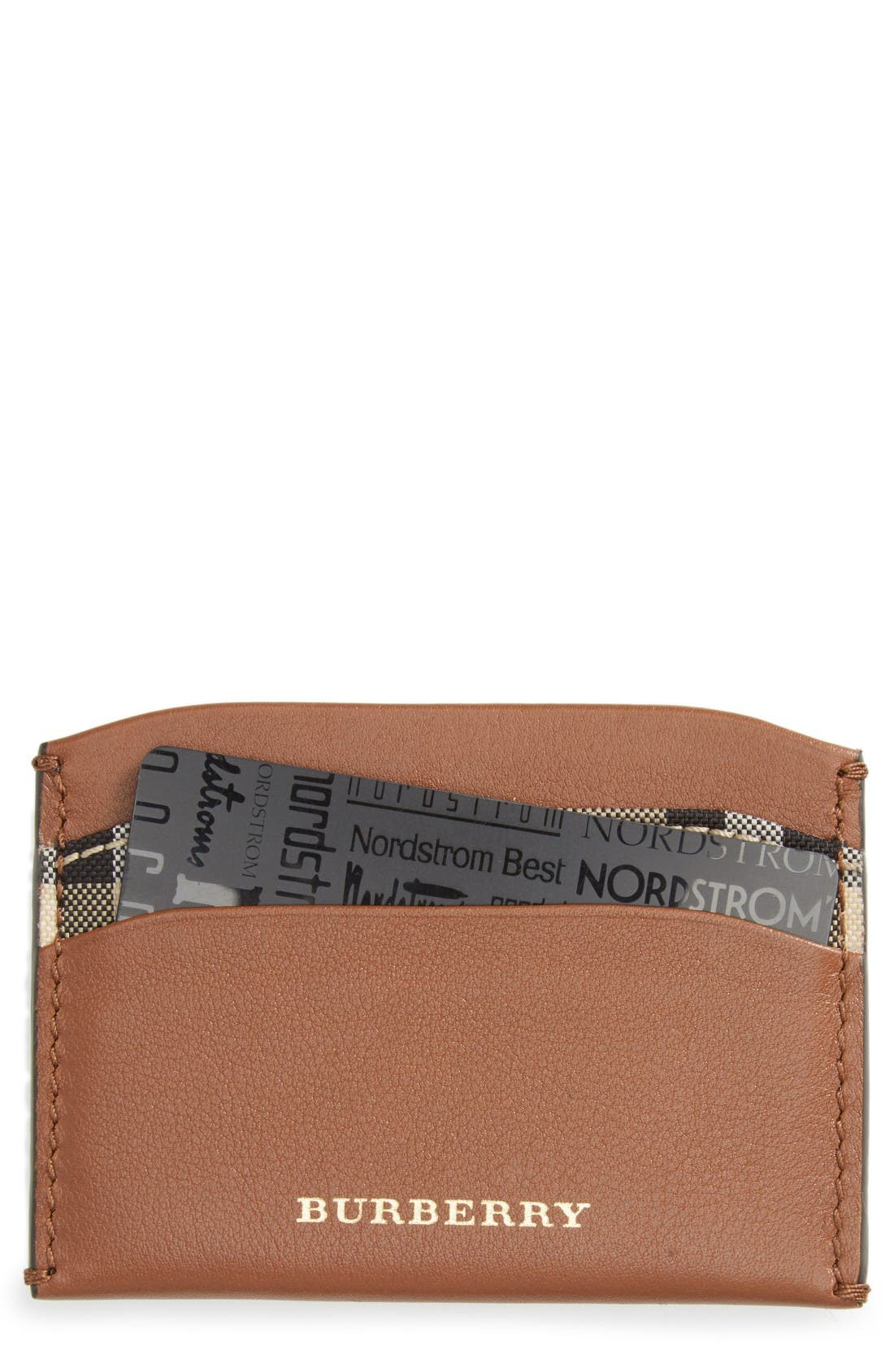 Izzy Check & Leather Card Case,                         Main,                         color, Tan