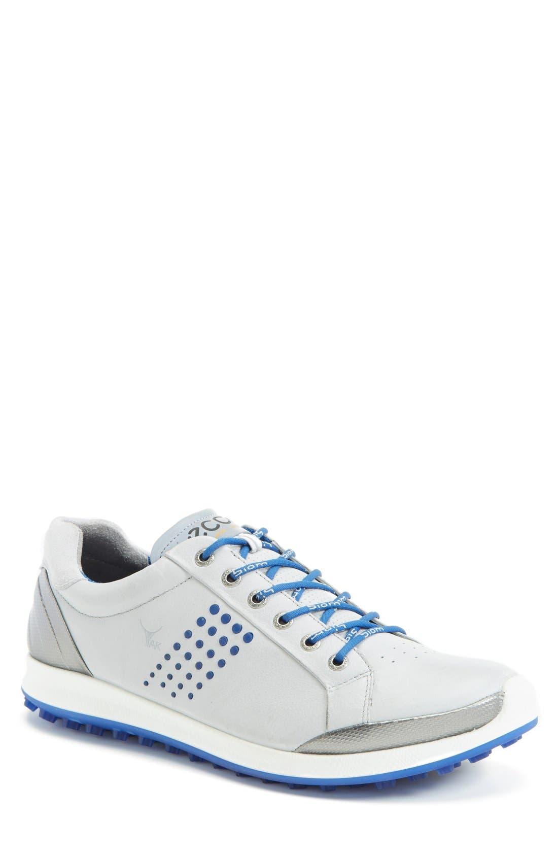 Main Image - ECCO BIOM Hybrid 2 Golf Shoe (Men). Color: Concrete/ Royal