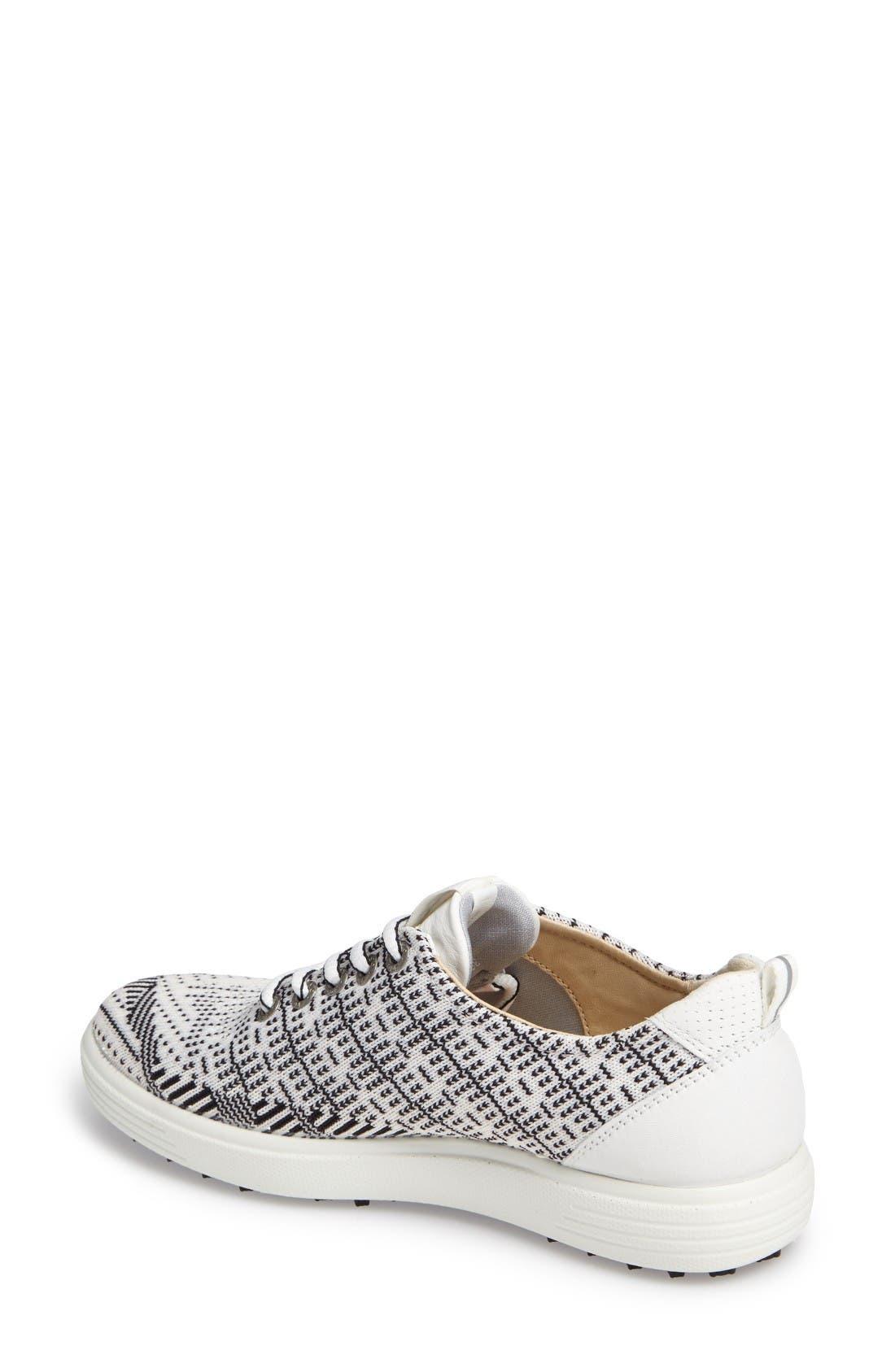 Casual Hybrid Knit Golf Sneaker,                             Alternate thumbnail 2, color,                             White/ Black/ White Leather