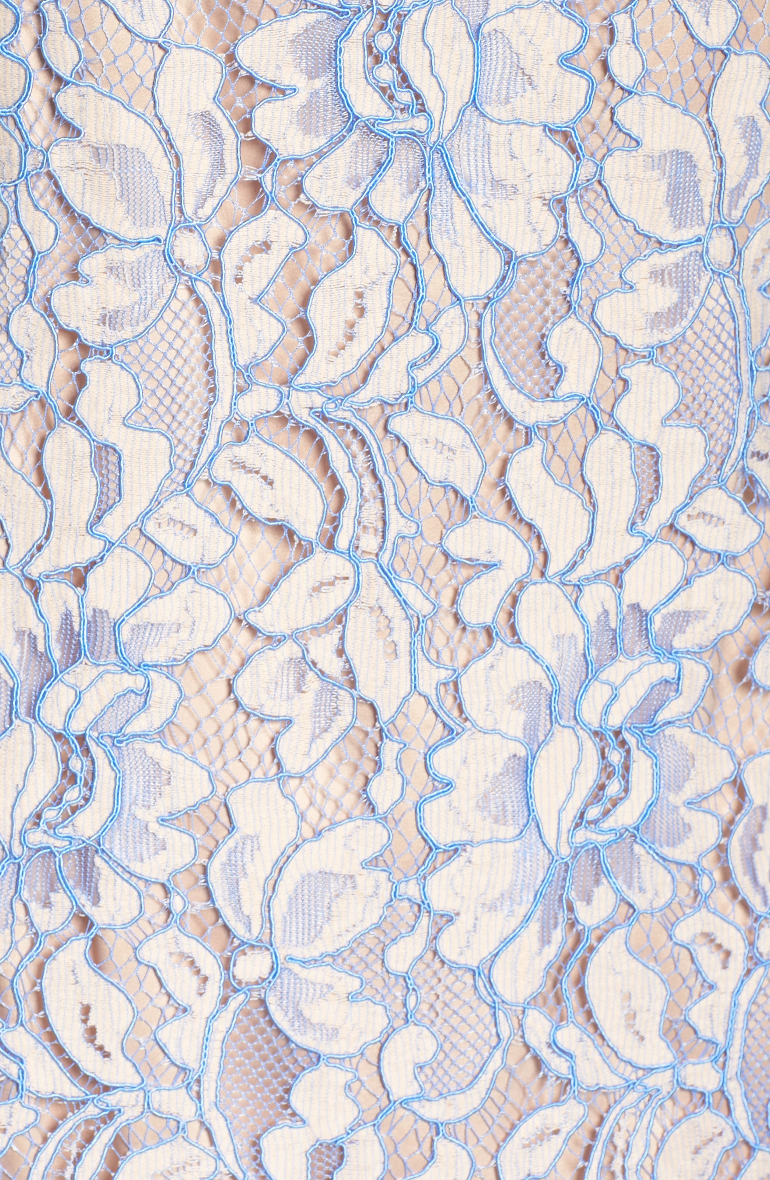 Lace Shift Dress,                             Alternate thumbnail 6, color,                             Nude/ Blue