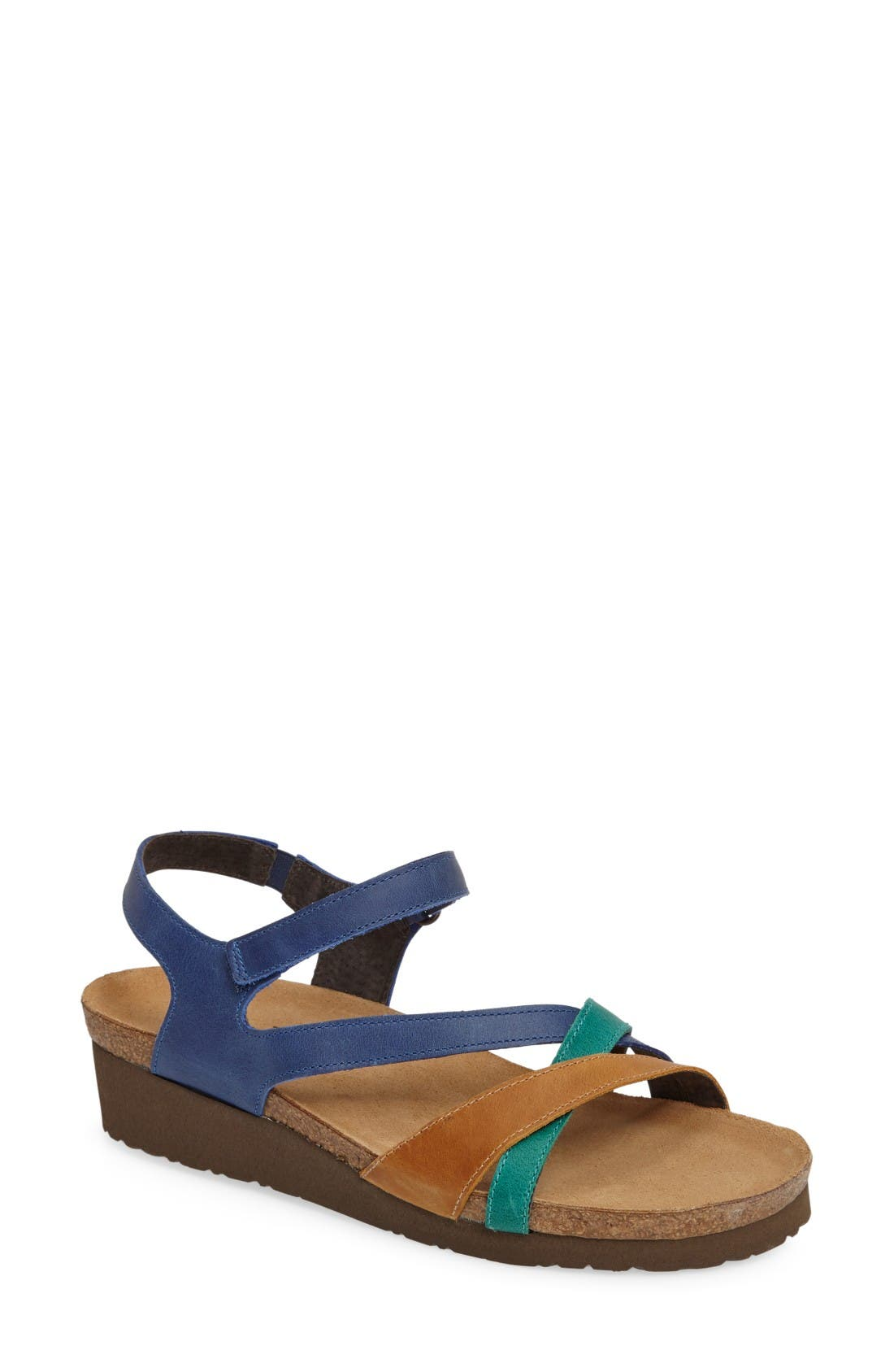 'Sophia' Sandal,                             Main thumbnail 1, color,                             Blue/ Brown Nubuck Leather