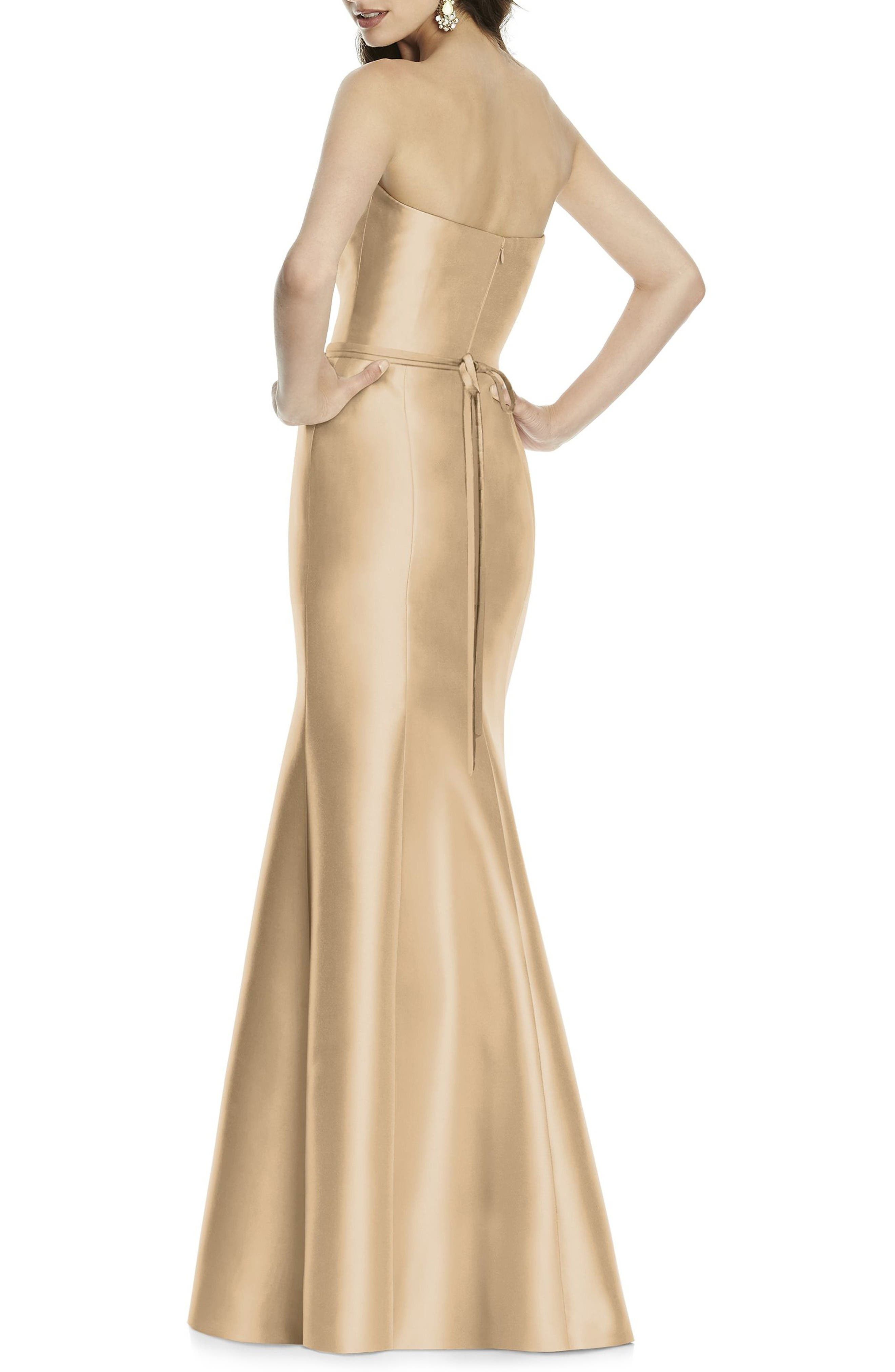Strapless Sateen Trumpet Gown,                             Alternate thumbnail 2, color,                             Golden